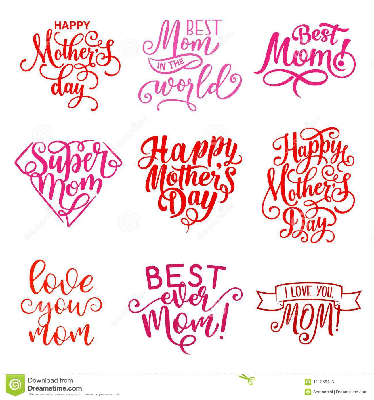 Vector mother day holiday greeting text icons stock vector vector mother day holiday greeting text icons m4hsunfo