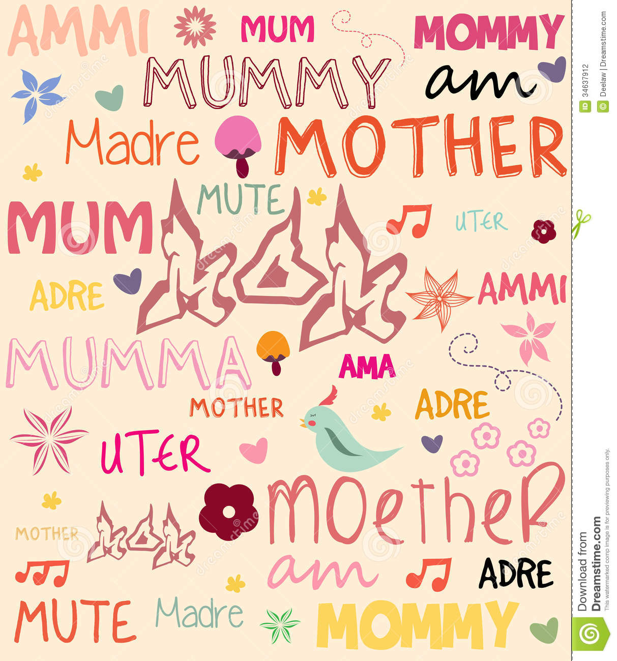 Vector mothers day poster with words for mother in stock vector vector mothers day poster with words for mother in m4hsunfo