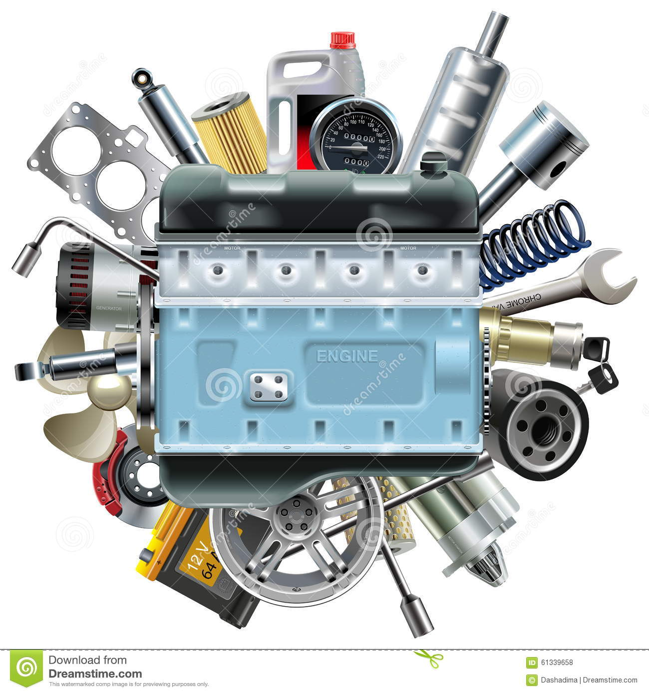 Vector Motor Engine With Car Spares Stock Vector Image