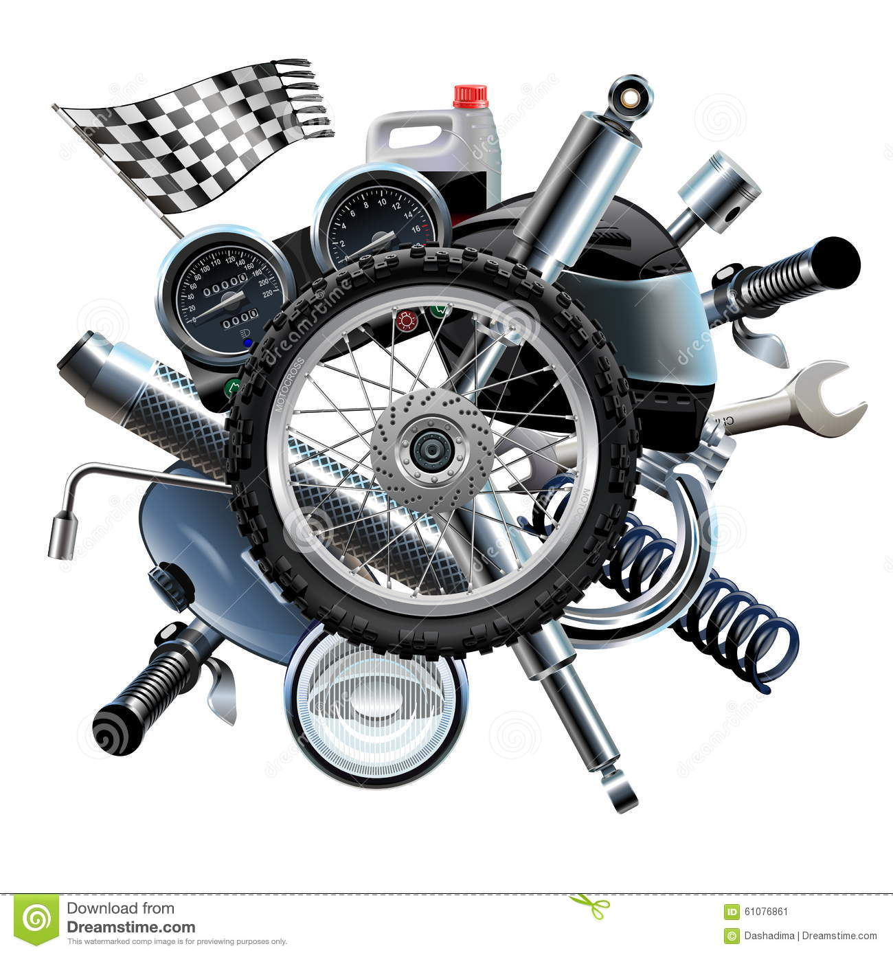 Vector Motorcycle Spares With Wheel Stock Image