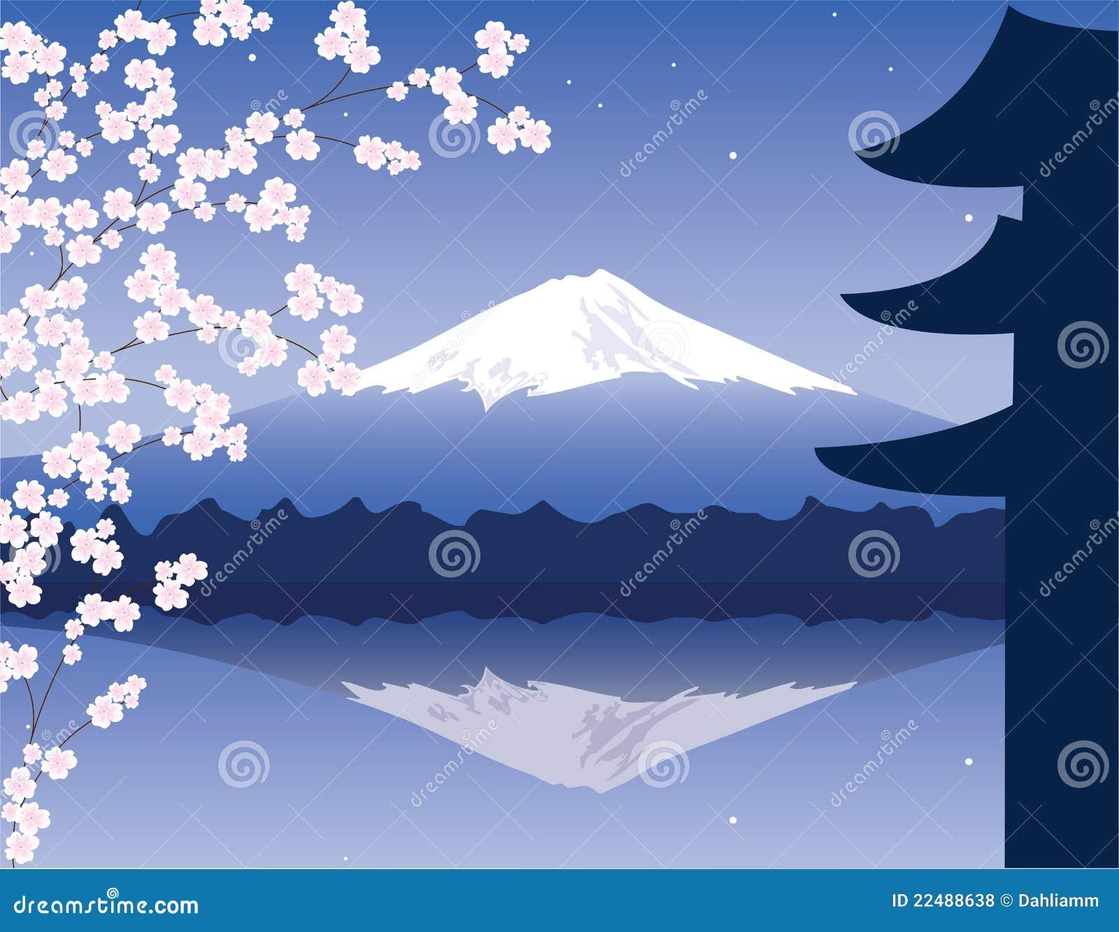 vector mount fuji and sakura stock vector image 22488638