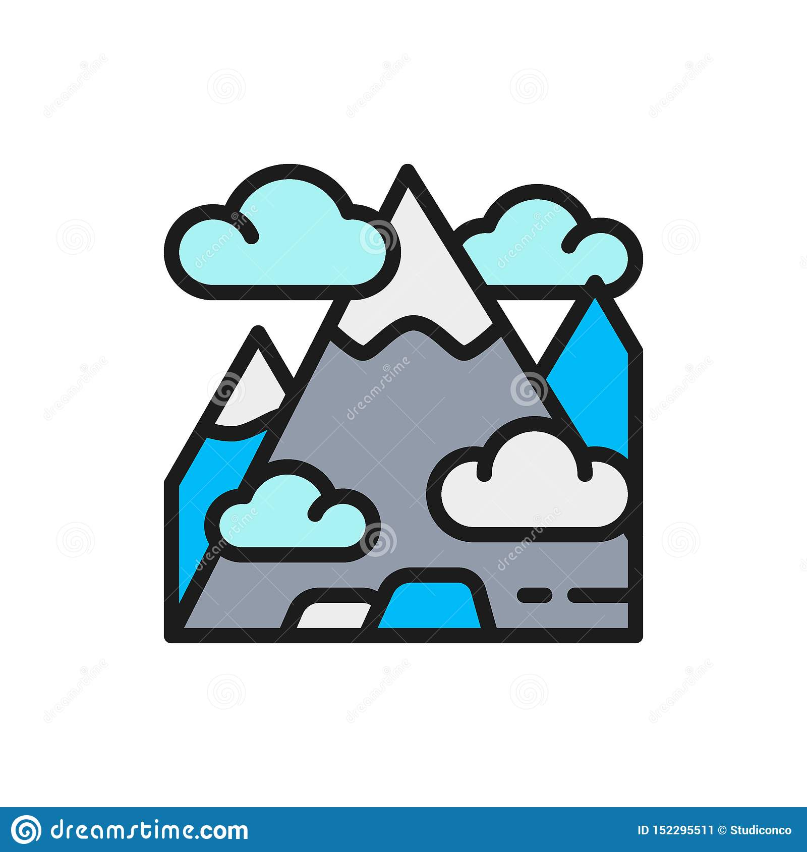 Vector mountain, mount, hill, travel, tourism flat color line icon.