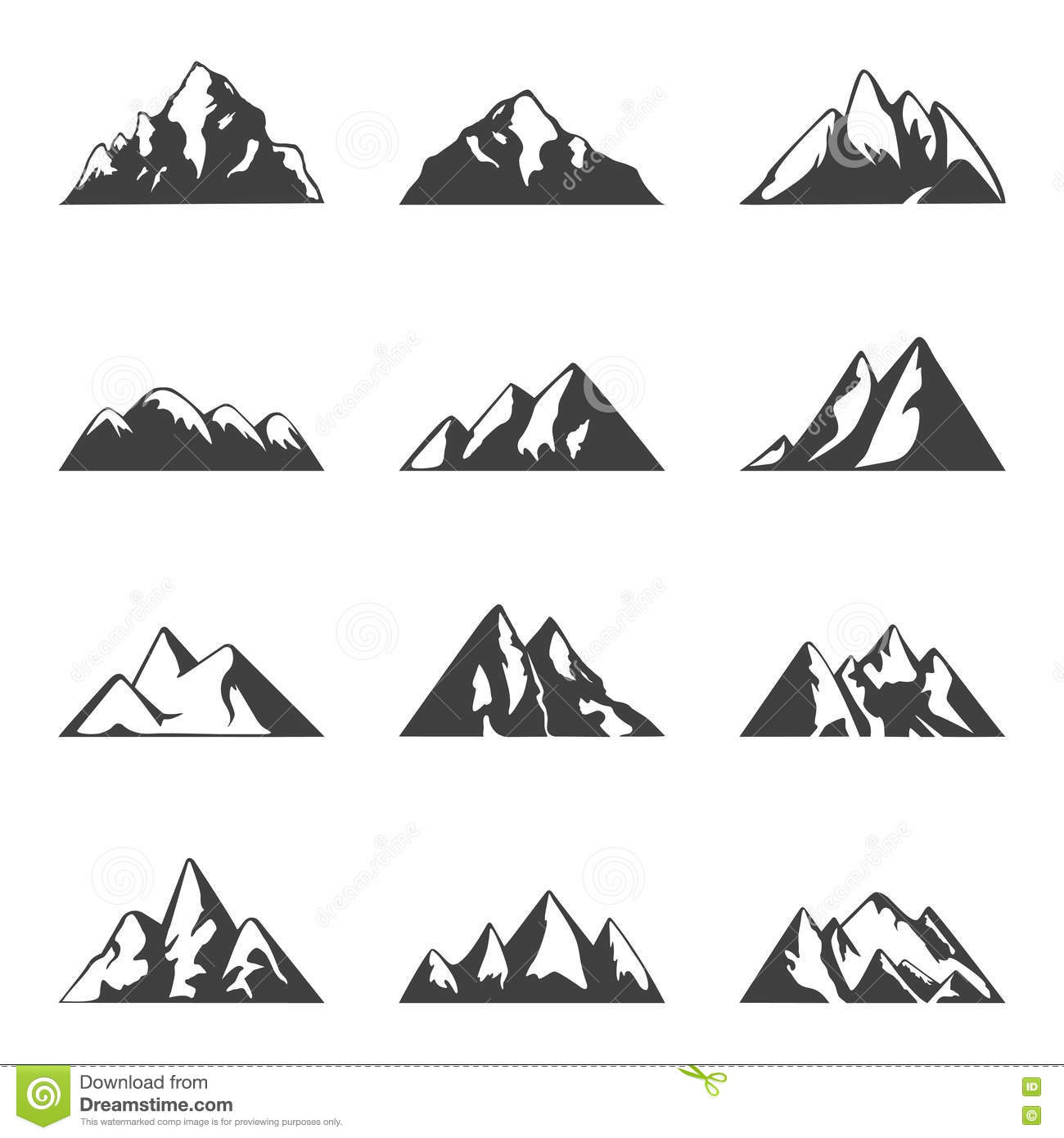 Vector mountain set. Simple black and white icons or design templates. Travel, hiking, camping theme.