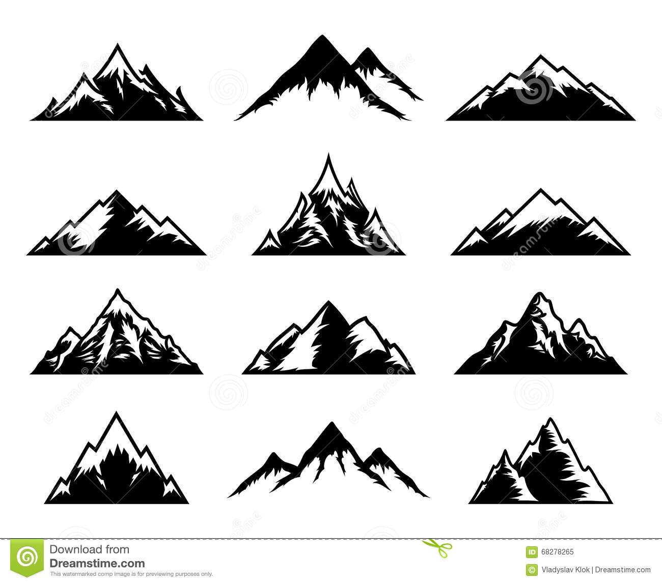 Vector Mountains Icons On White Stock Vector - Image: 68278265