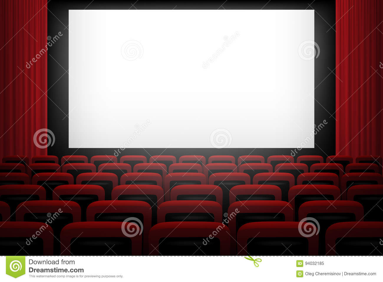 Vector Movie Theatre Background With White Screen Red Curtains And Chairs Stock Vector Illustration Of Dark Illustration 94032185