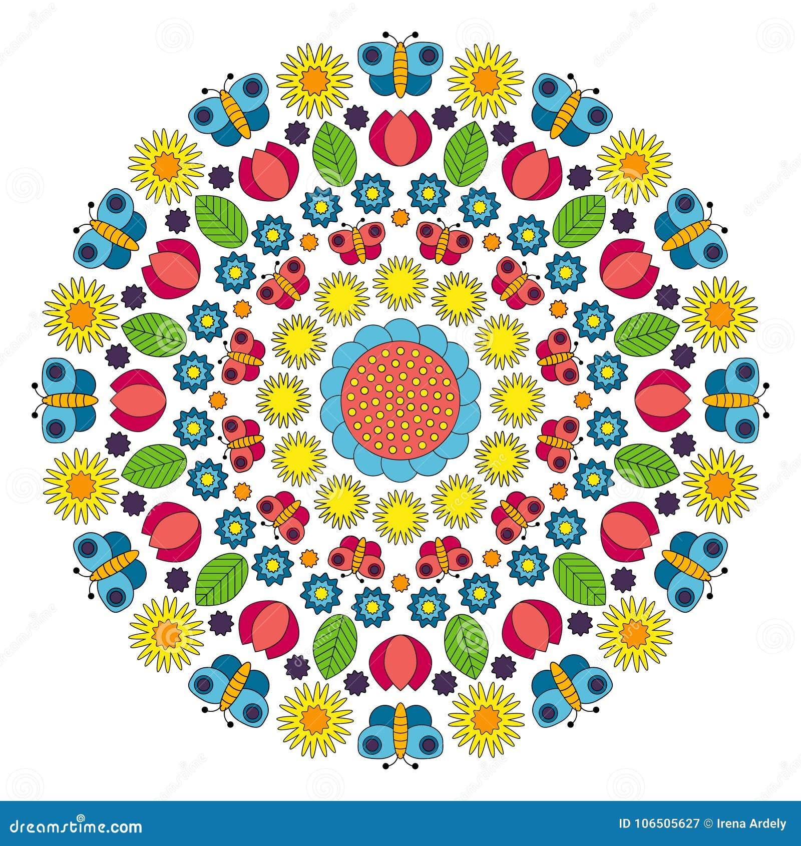 Vector Multi Farbige Frühlingsmandala Mit Blumen Schmetterlingen