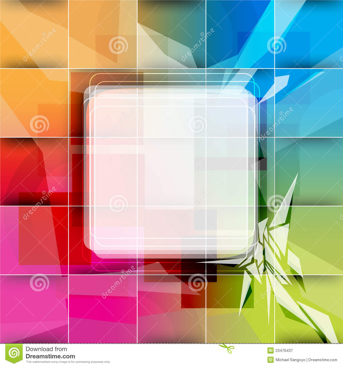 Vector multicolor background with square frame