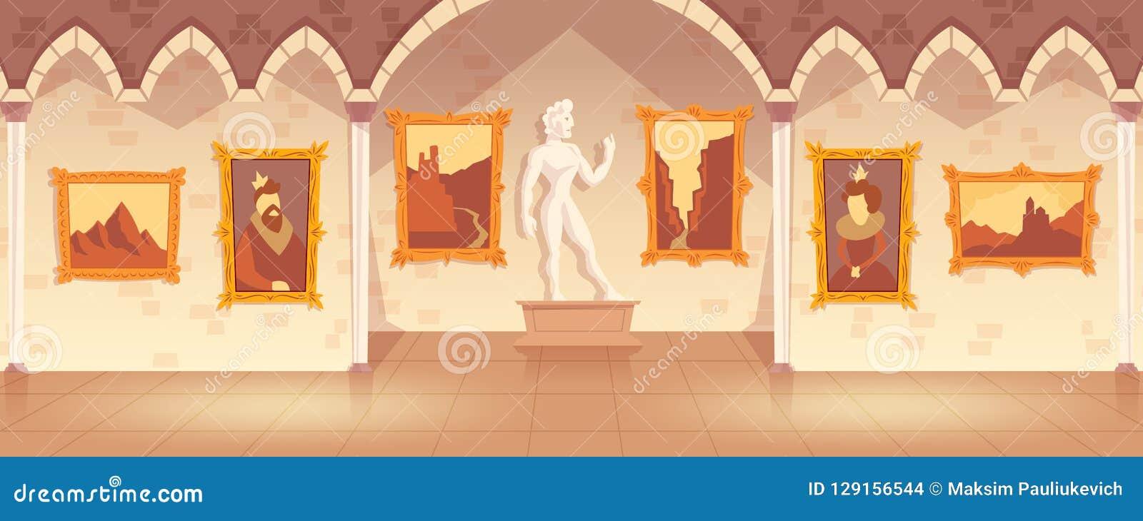 Vector Cartoon Art Gallery In Medieval Palace Stock Vector