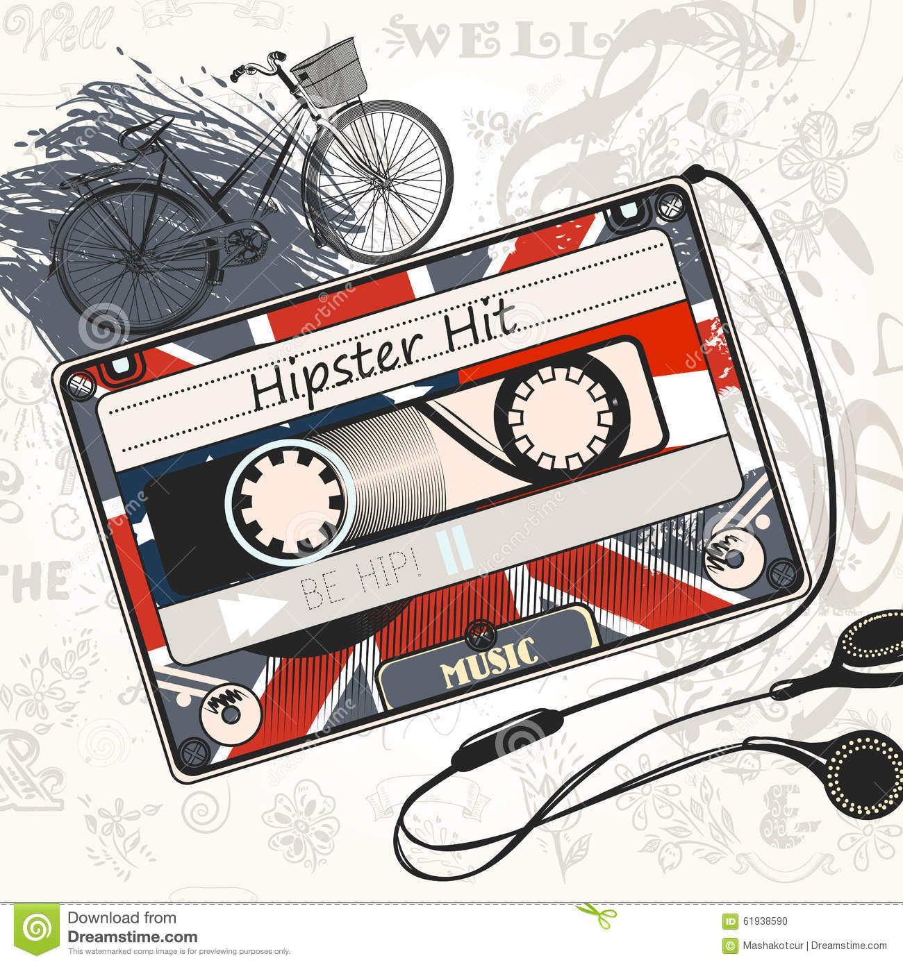 Hipster Bands: Vector Music Background With Old Cassette Decorated By