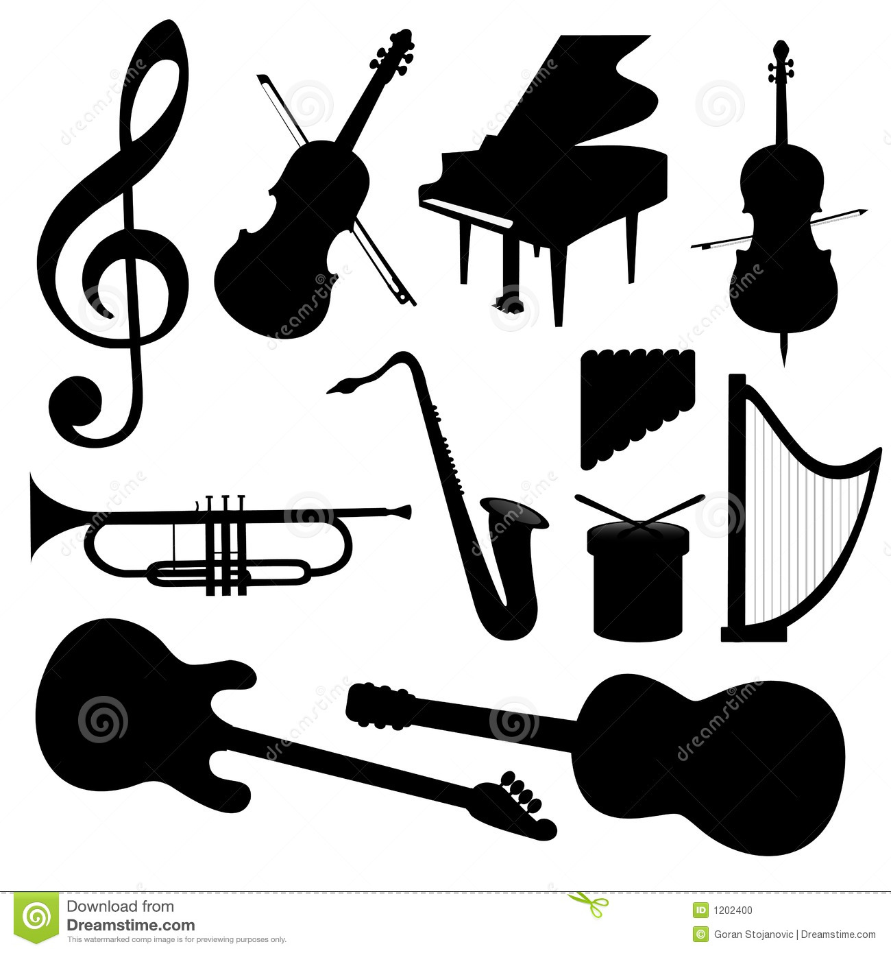 Vector Music Instruments - Silhouette