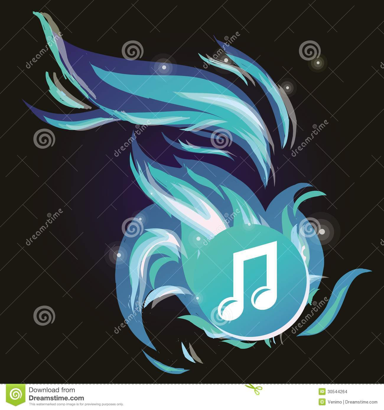 Vector music note with cold blue flame