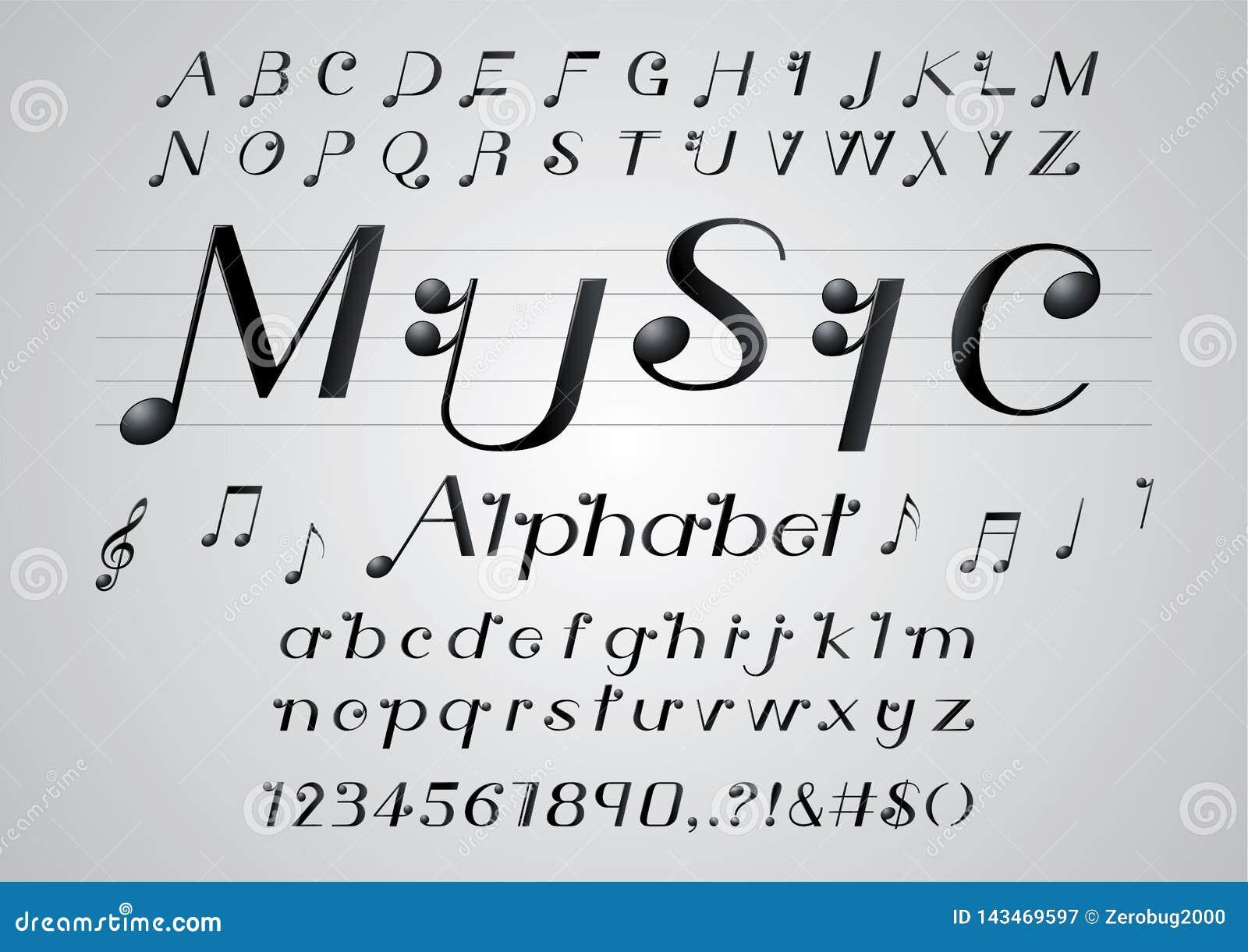 font music notes note alphabet musical fonts vector letters fonte musica fuente letter della shutterstock lettering nota text alfabeto vektor