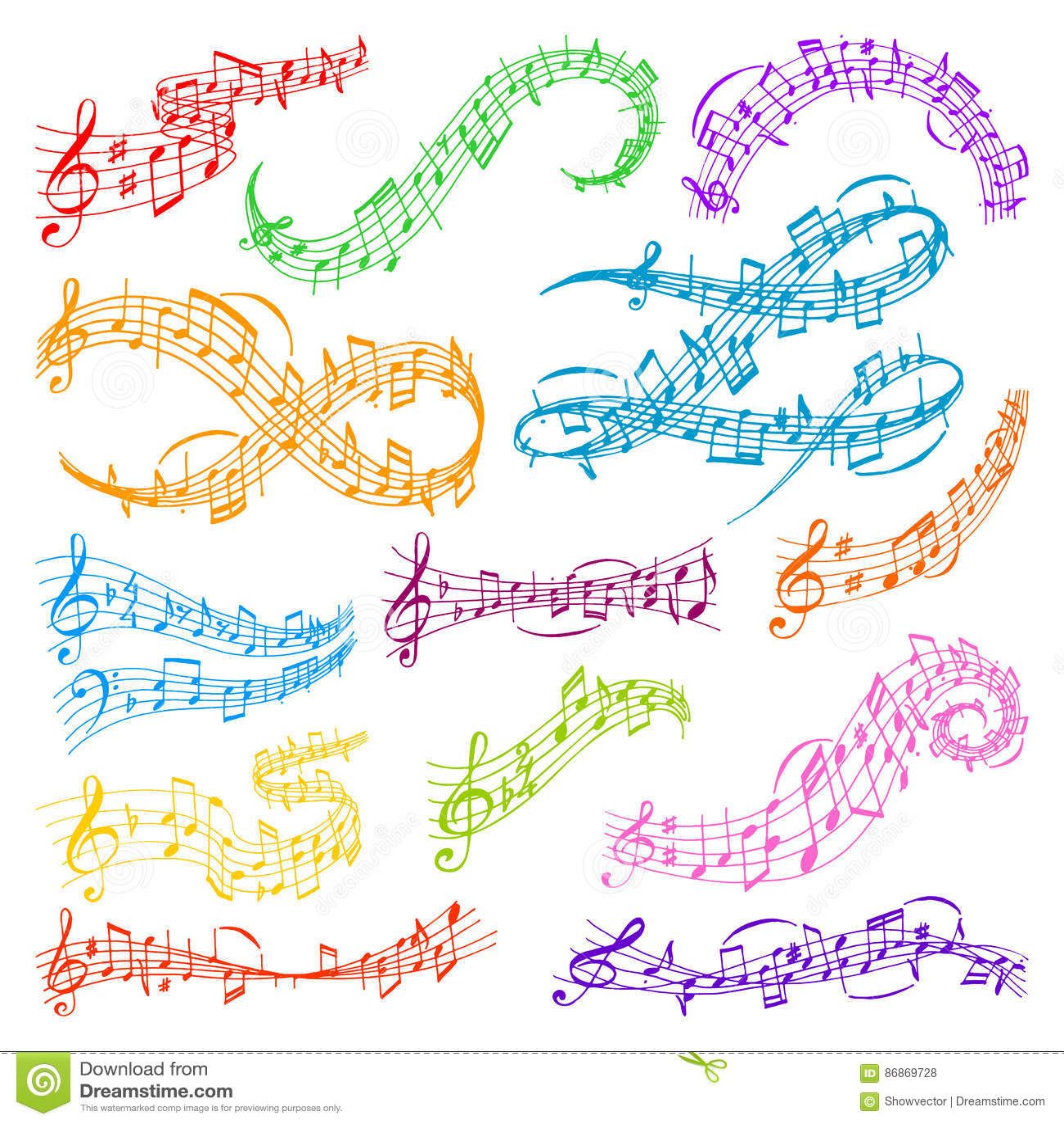 Vector music note melody symbols vector illustration