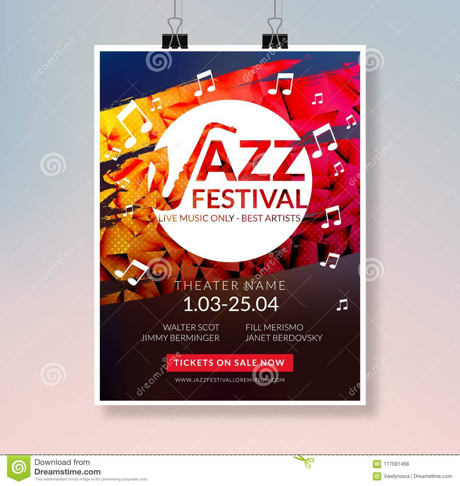 vector musical flyer jazz festival music concert poster background