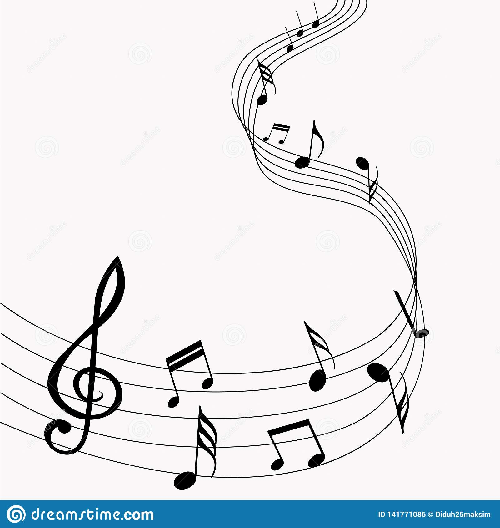 Vector musical notes. Music. Gray background. Vector illustration. EPS 10