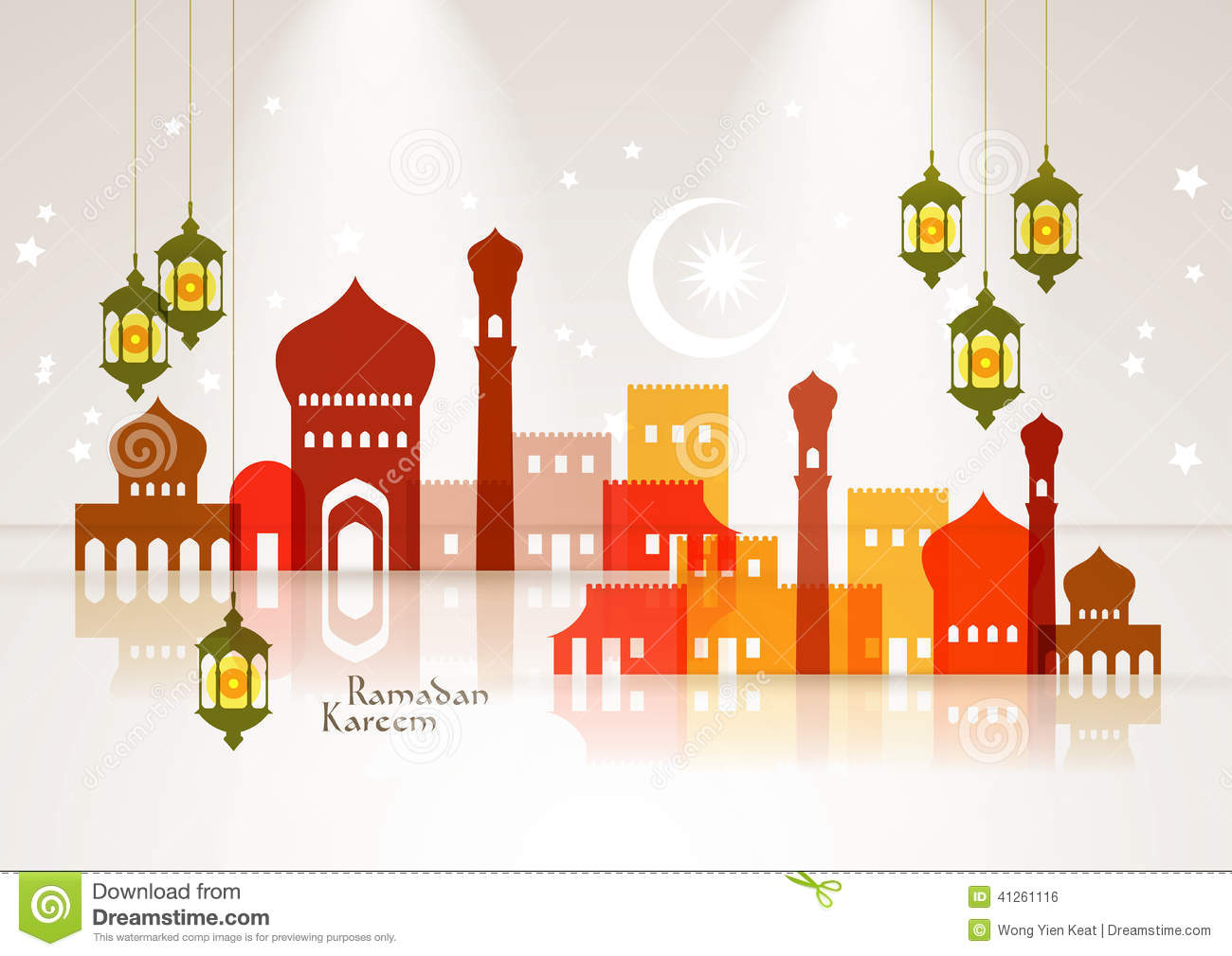 Vector Muslim Mosque and Oil Lamp Graphics.