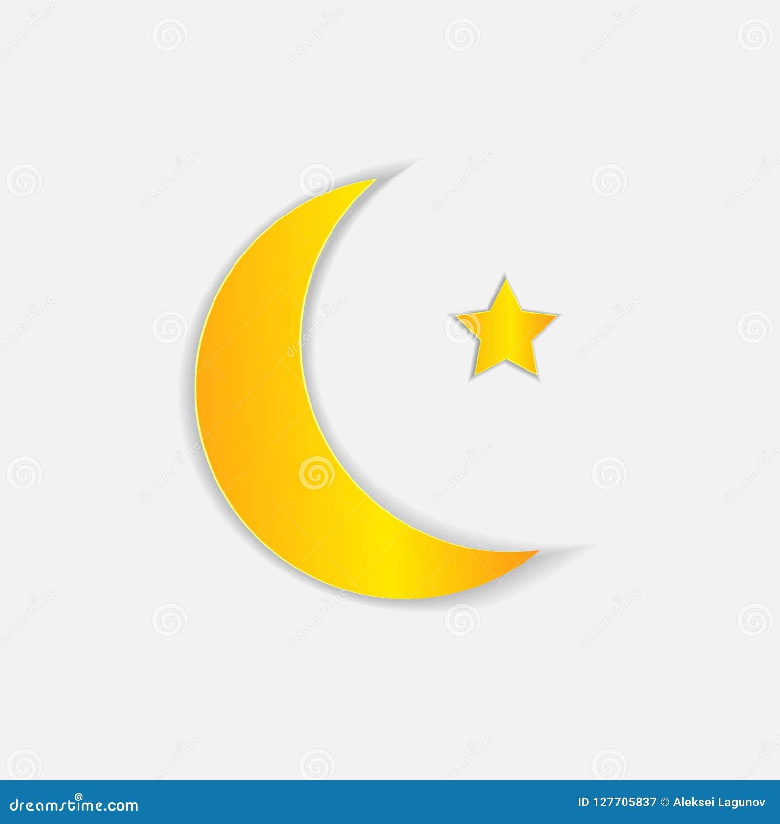 Vector Muslim Symbol Paper Art Moon And Star Stock Vector