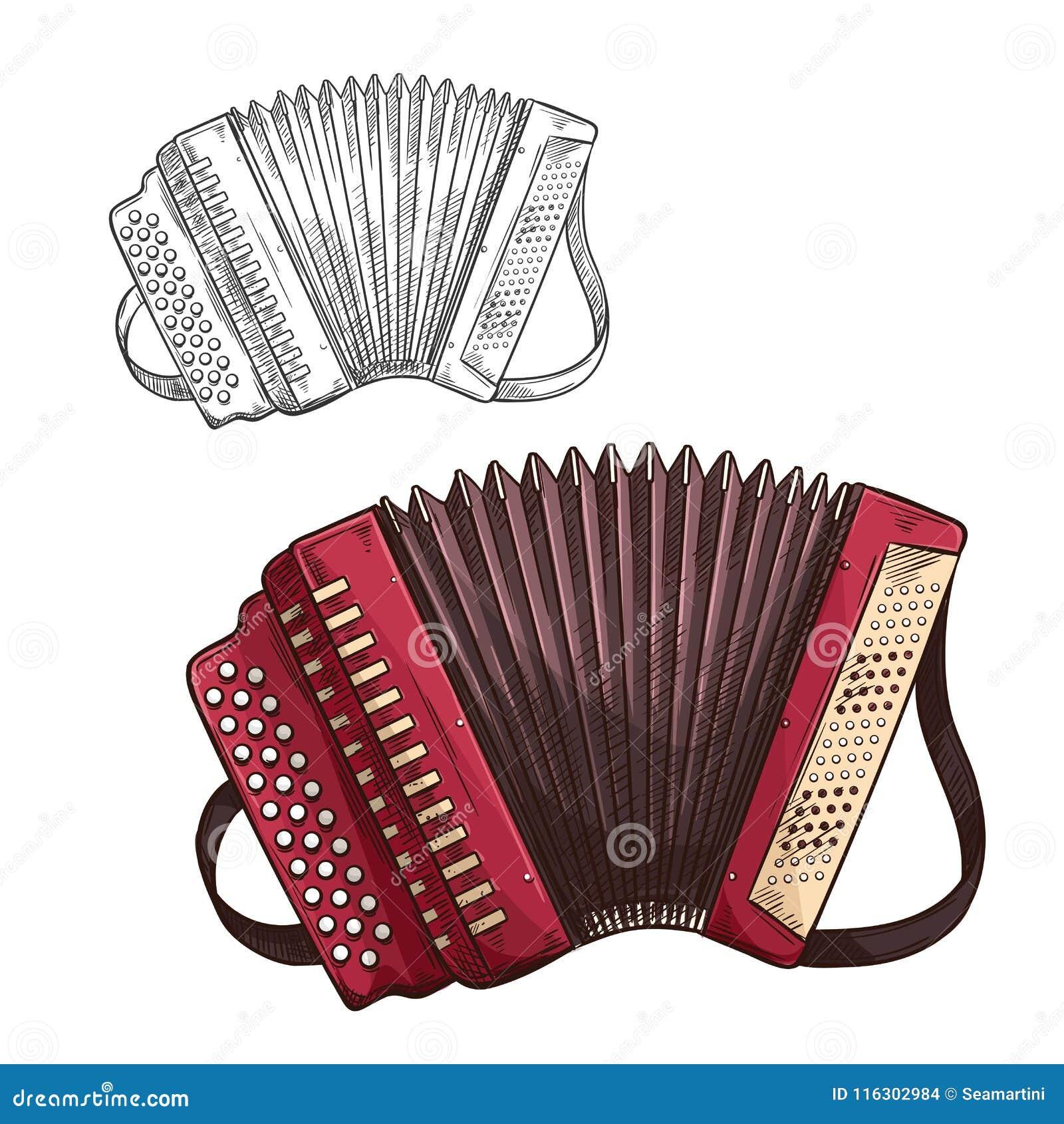 Vector muzikaal insturmentpictogram van de schetsharmonika