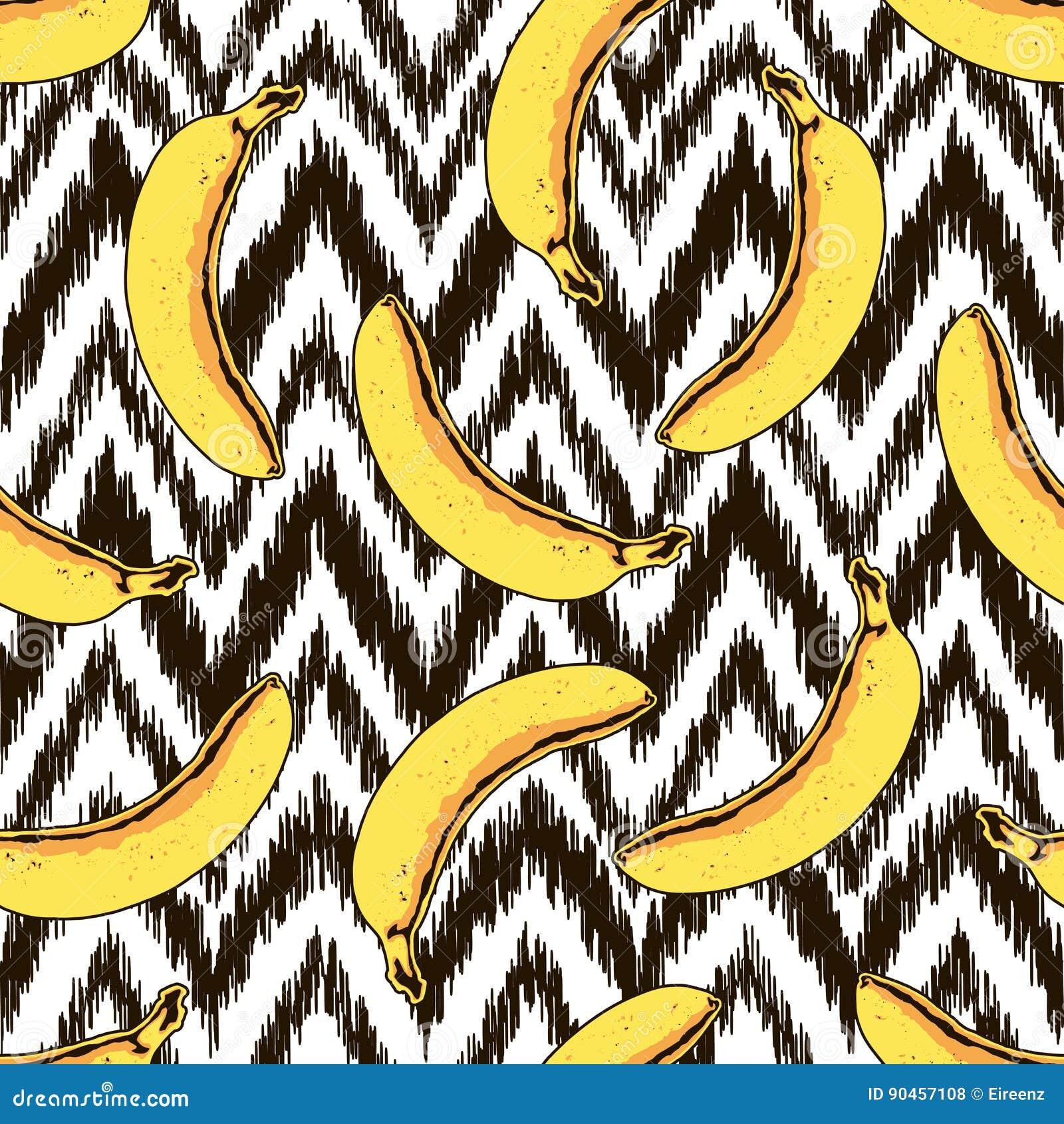 Vector naadloos banaan en zigzagpatroon
