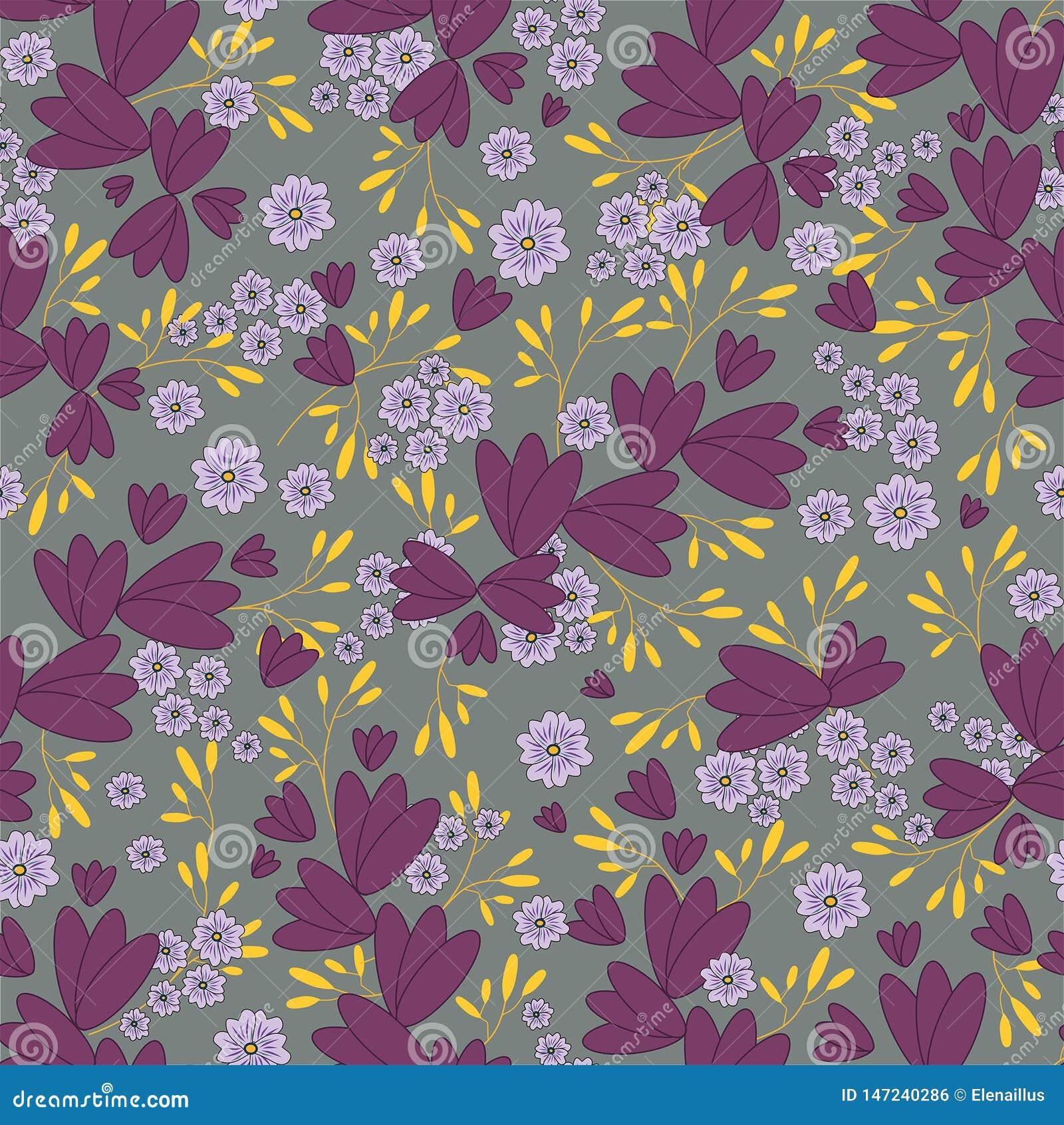 Vector naadloos bloemenpatroon op grijze achtergrond Bladeren en bloemenpatroon