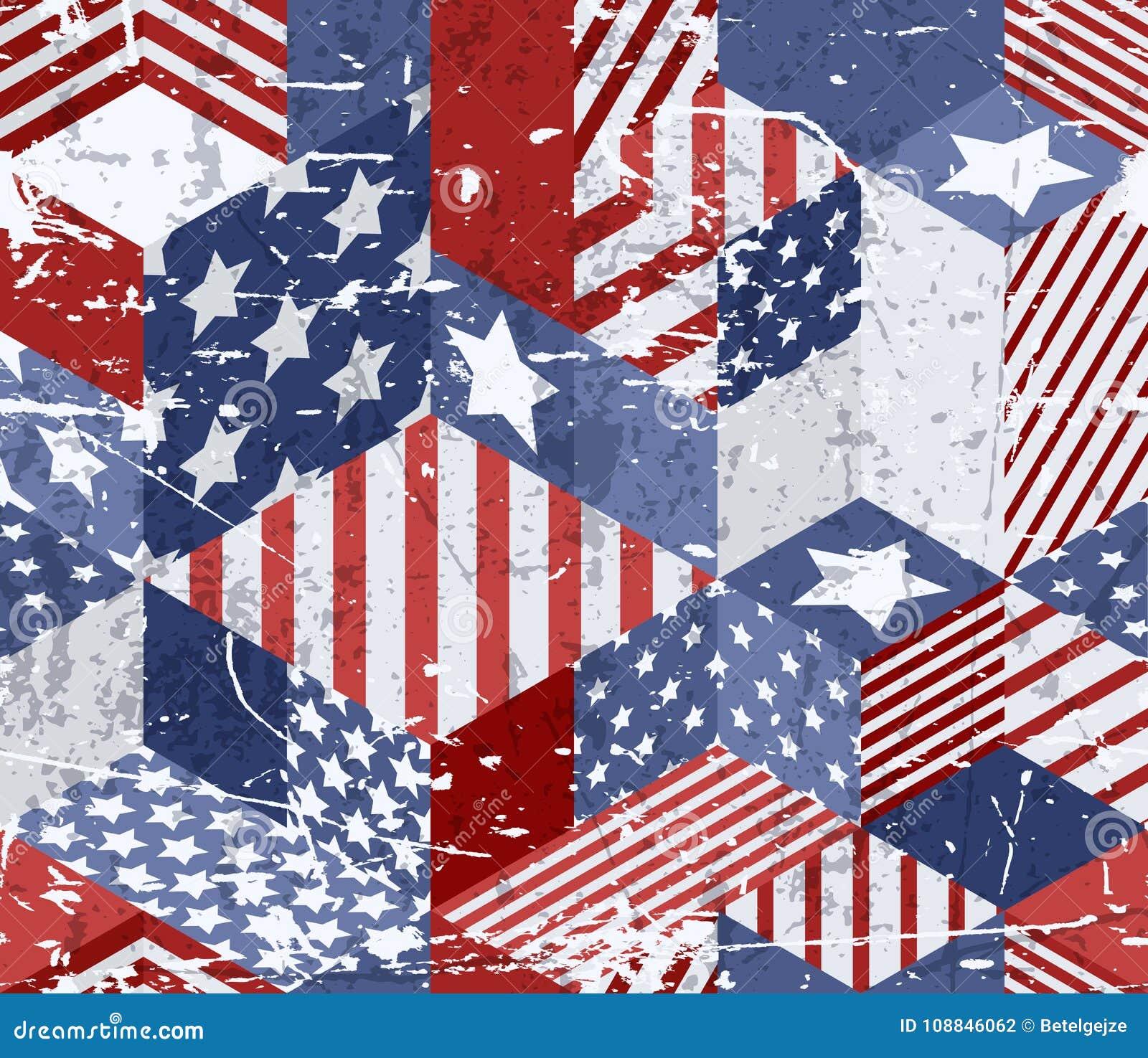 Vector naadloos de vlagpatroon van de waterverfv.s. 3d isometrische kubussenachtergrond in Amerikaanse vlagkleuren