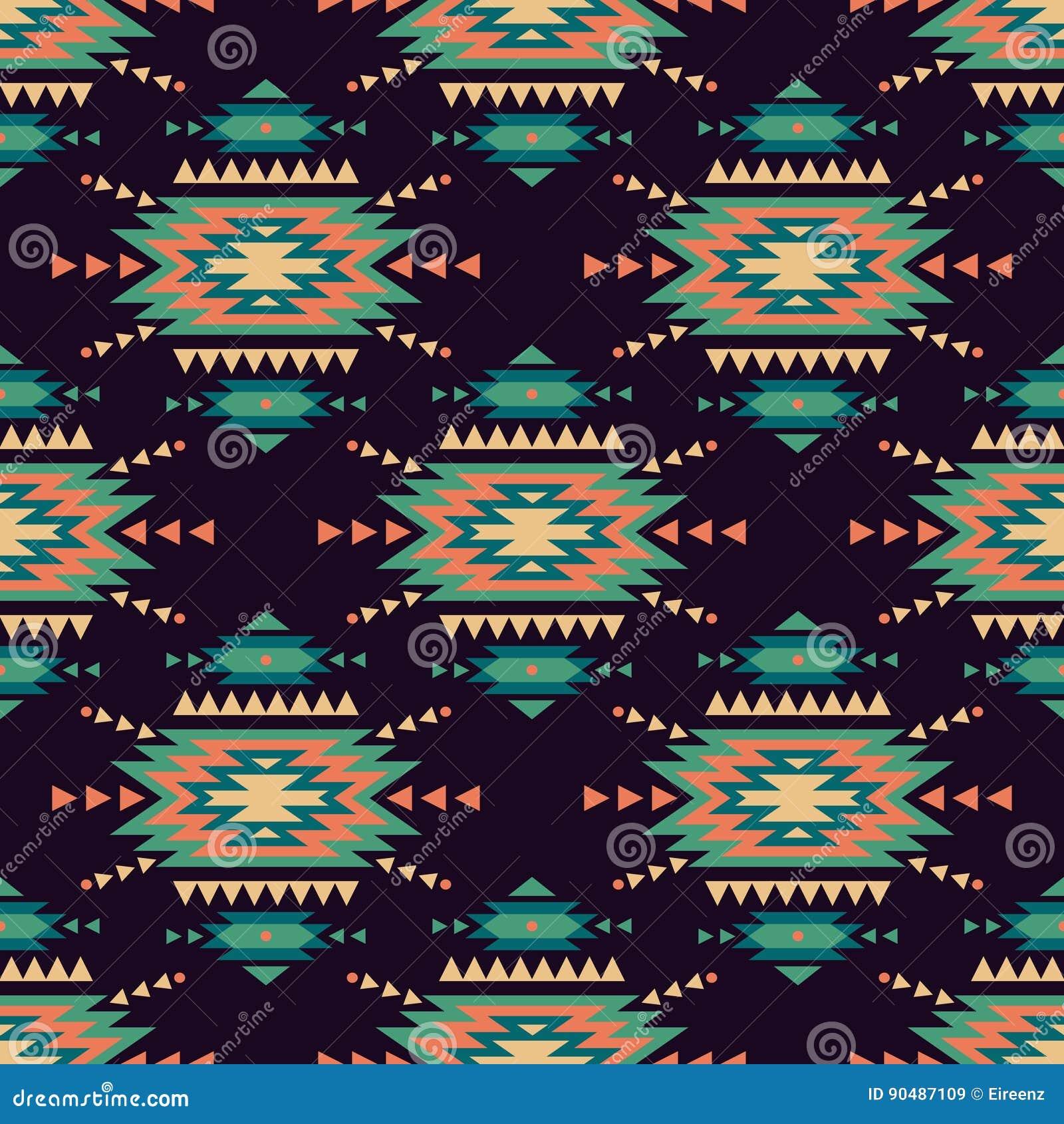 Vector naadloos decoratief etnisch patroon Amerikaanse Indische motieven
