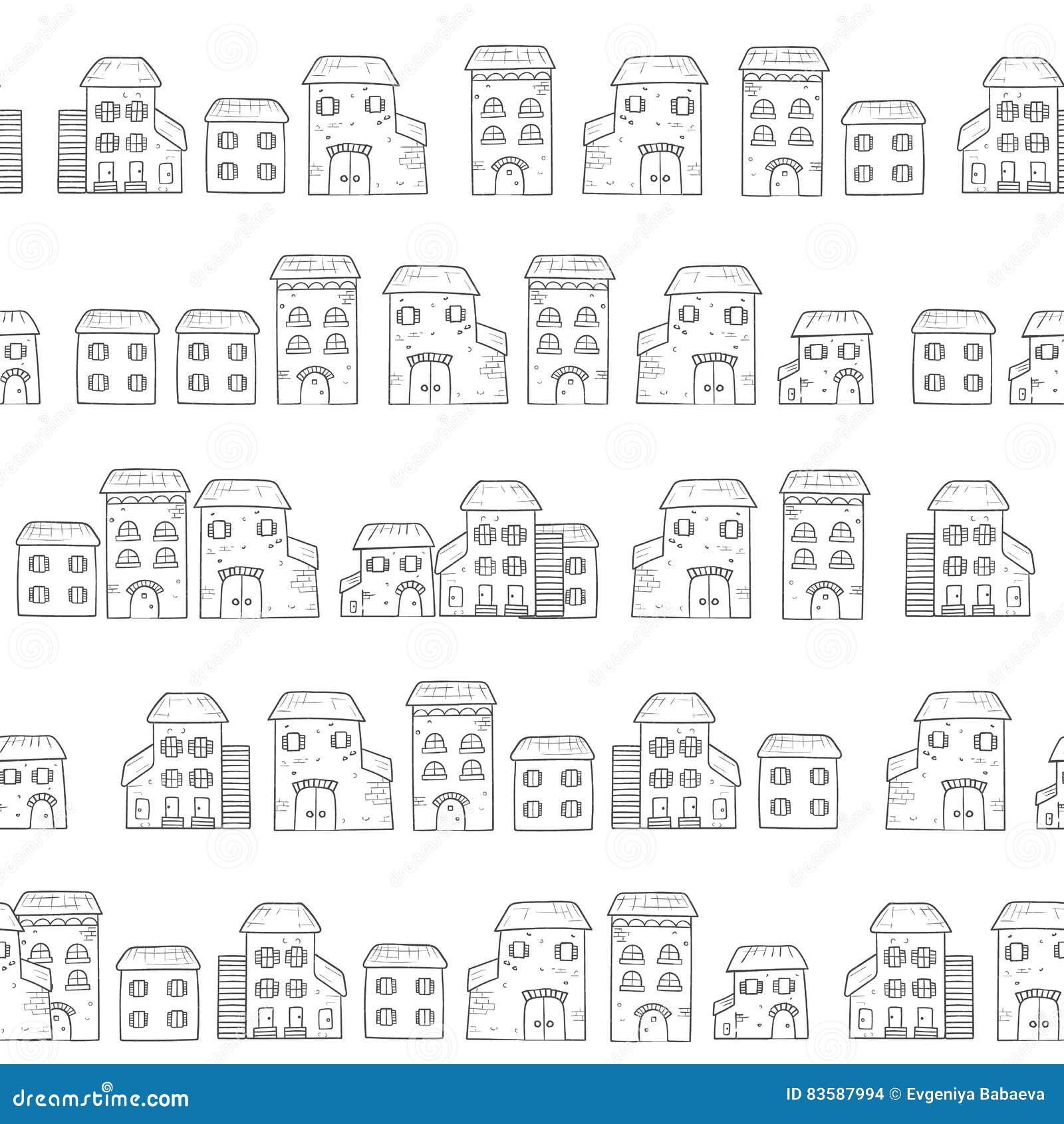Vector naadloos die beeldverhaalpatroon, van huizen in Europese stijl wordt gemaakt