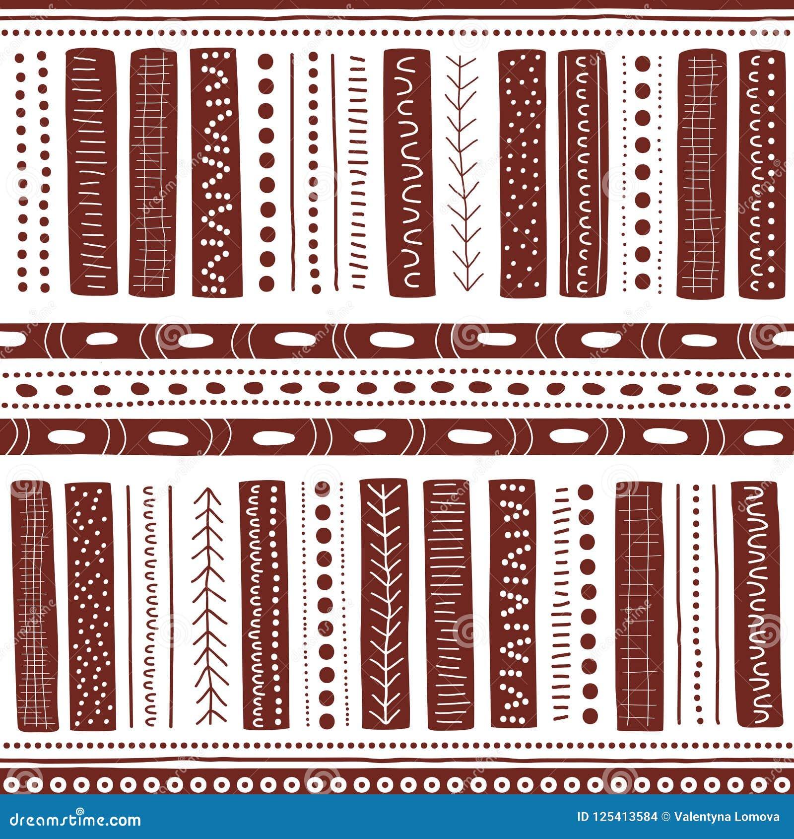 Vector naadloos inheems patroon met inbegrip van etnische Australische beweging veroorzakend met bruine typische elementen op wit