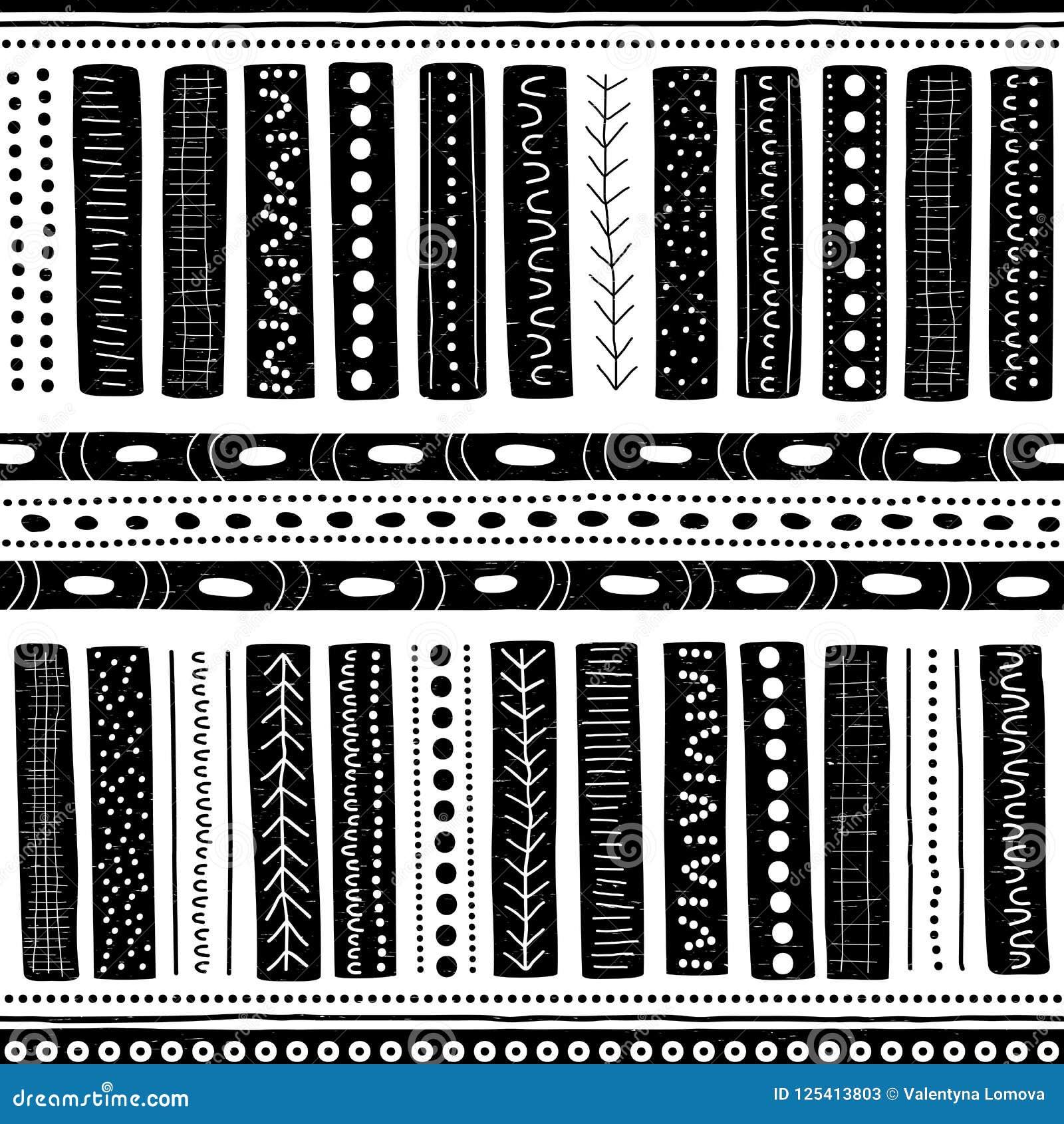 Vector naadloos inheems patroon met inbegrip van etnische Australische beweging veroorzakend met typische elementen op wit uitgep