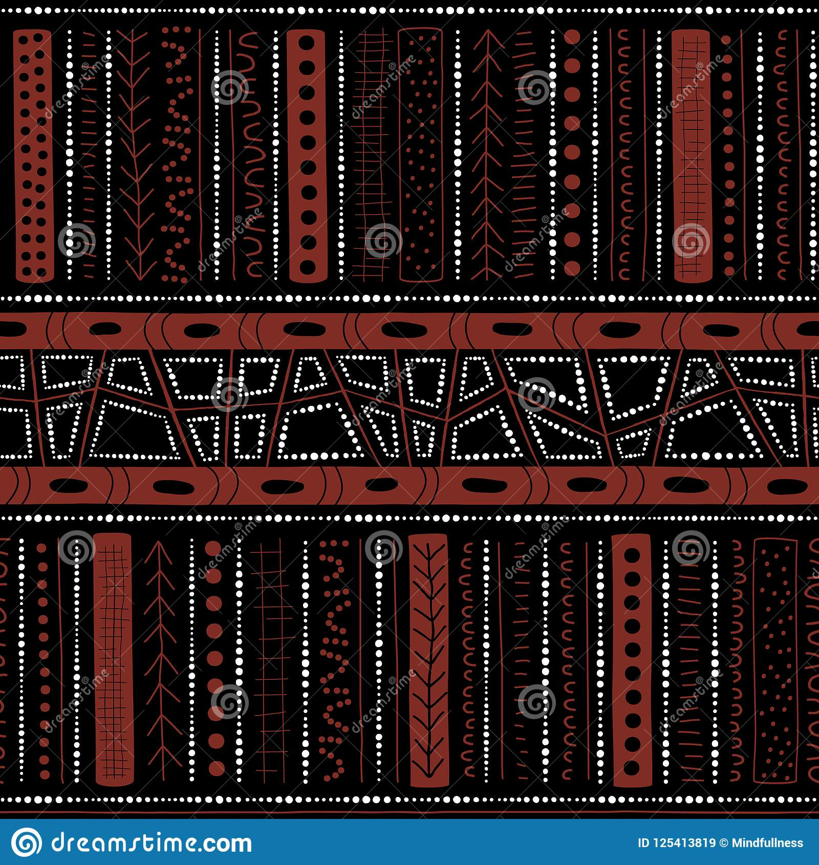 Vector naadloos inheems patroon met inbegrip van etnische Australische beweging veroorzakend met typische elementen op zwarte ach