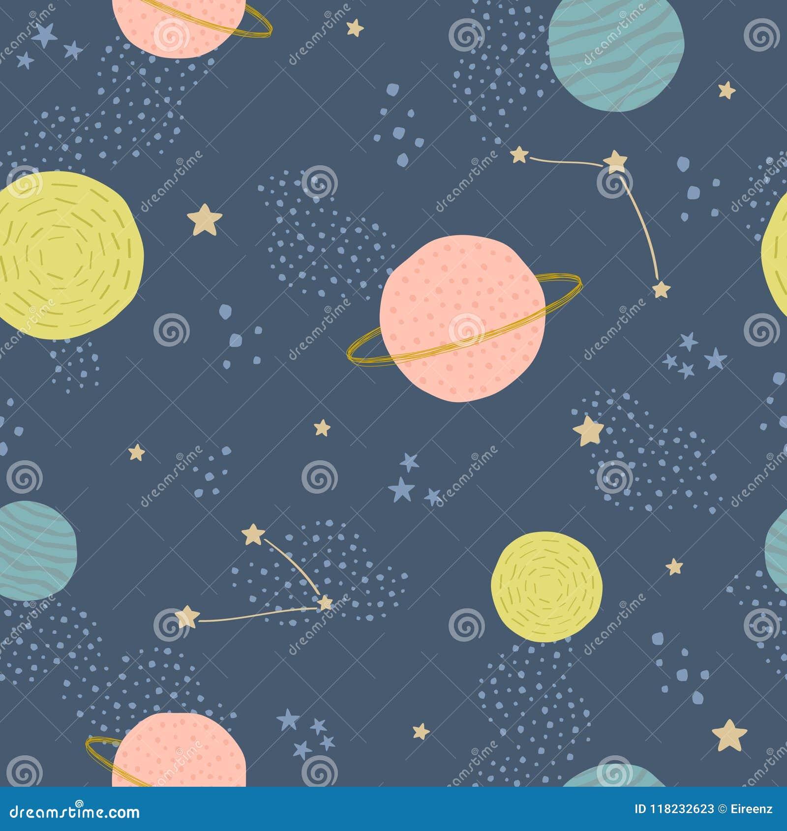 Vector naadloos kinderachtig patroon met ruimteelementen: sterren, planeten, asteroïden