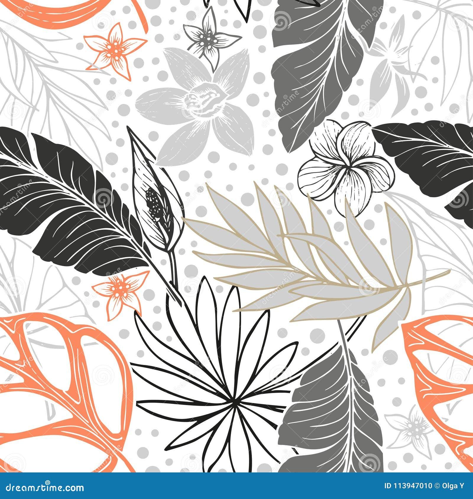 Vector naadloos mooi artistiek helder tropisch patroon met banaan, van Syngonium en Dracaena-blad, de pret van het de zomerstrand