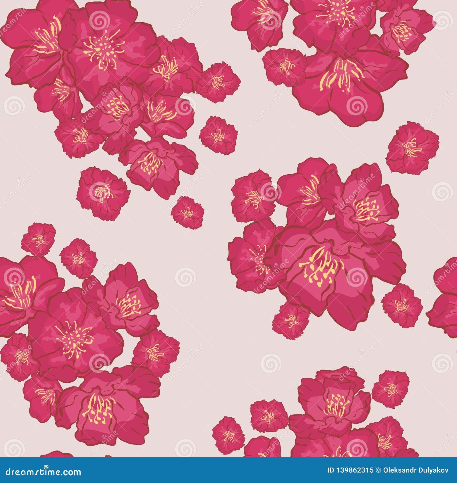 Vector naadloos patroon als achtergrond gevoelige roze Sakura-bloesem of Japanse bloeiende kers symbolisch van de Lente in willek