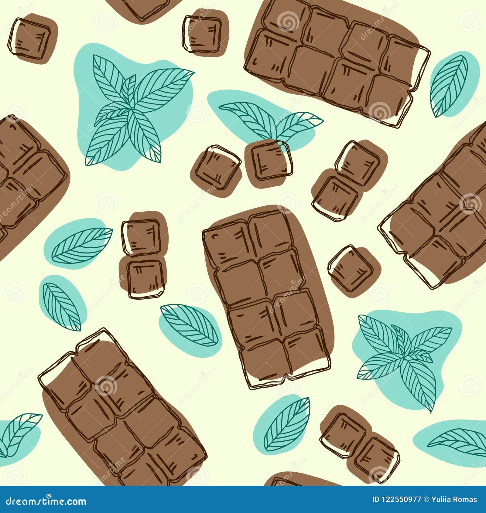 Vector naadloos patroon met chocolade en muntaroma De achtergrond van het voedsel Hand getrokken illustratie