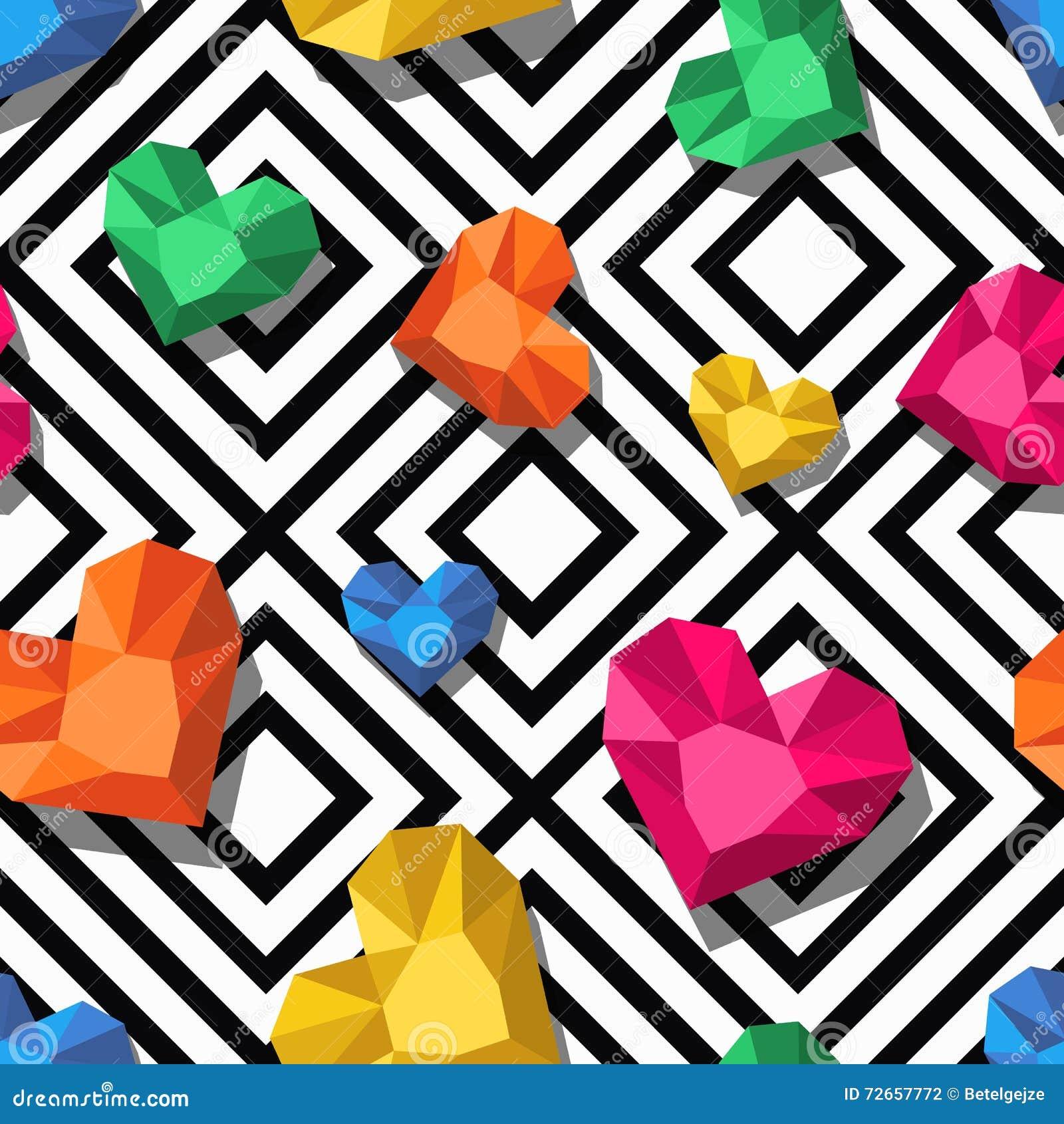 Vector naadloos patroon met 3d gestileerd juweel, gemmen in hartvorm Geometrische zwart-witte achtergrond met harten