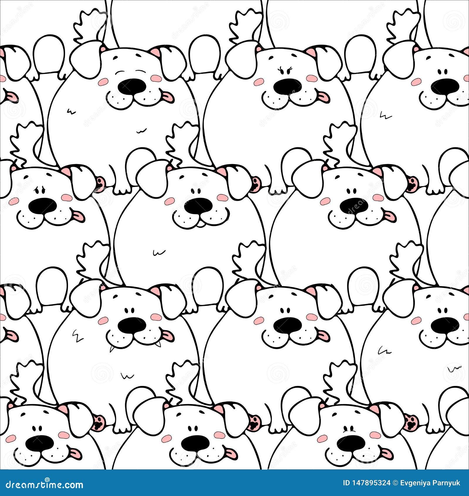 Vector naadloos patroon met hand-drawn grappige leuke vette dieren Silhouetten van dieren op een witte achtergrond Prettextuur me