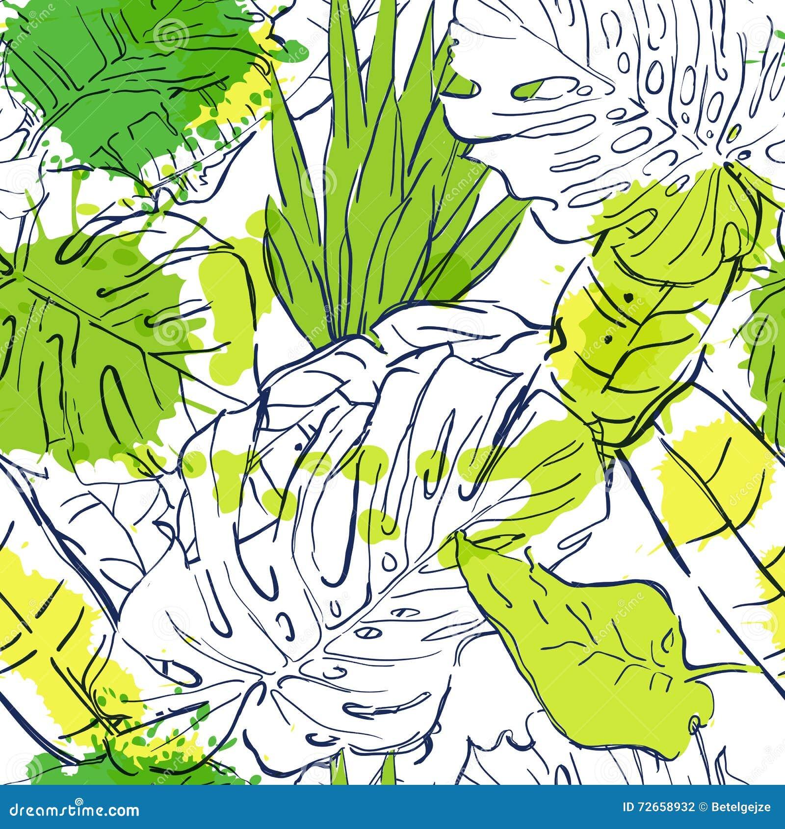 Vector naadloos patroon met overzichts tropische palmbladen en waterverfvlekken De illustratie van de de zomeraard