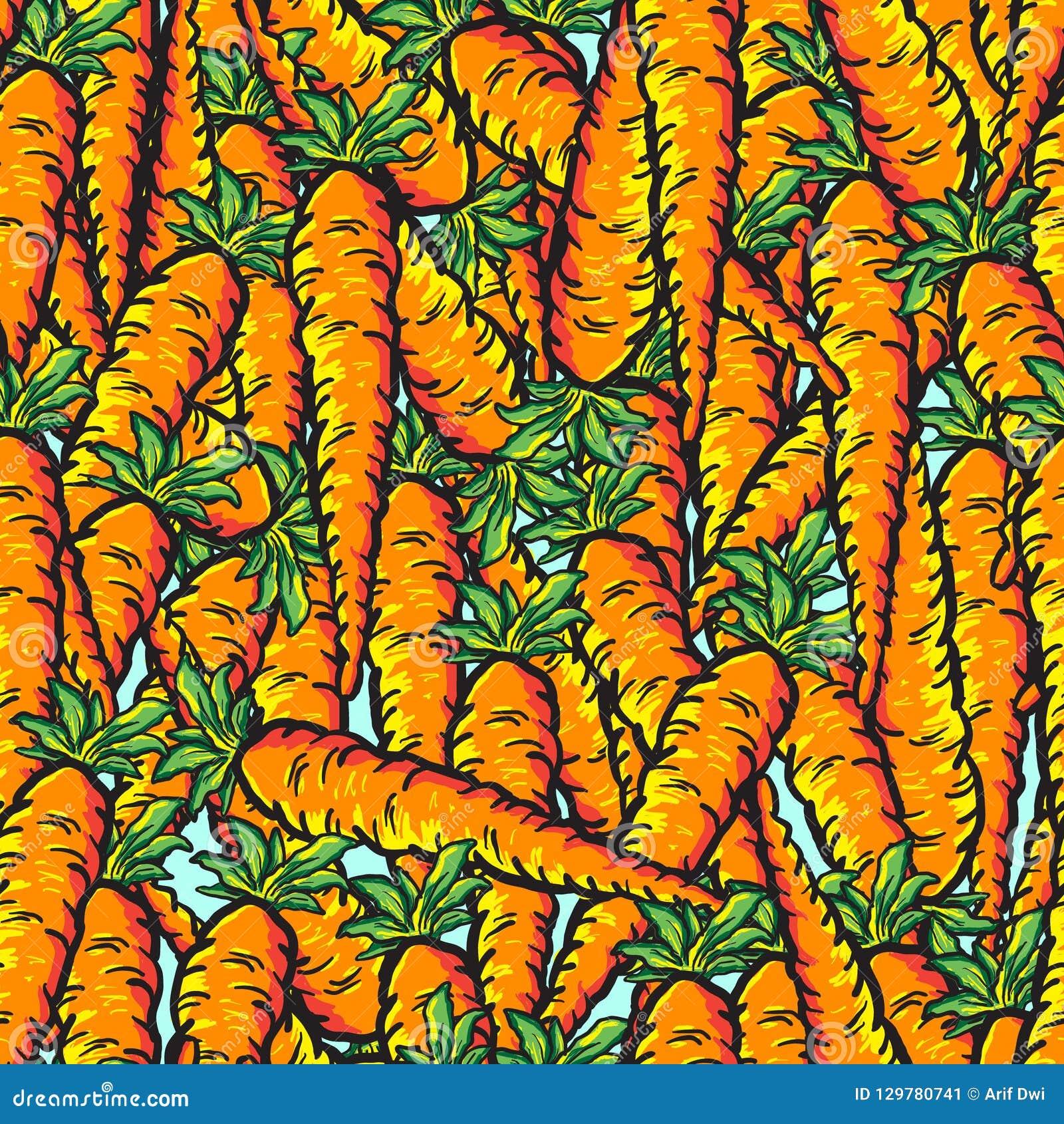 Vector naadloos patroon met realistische leuke oranje wortelen
