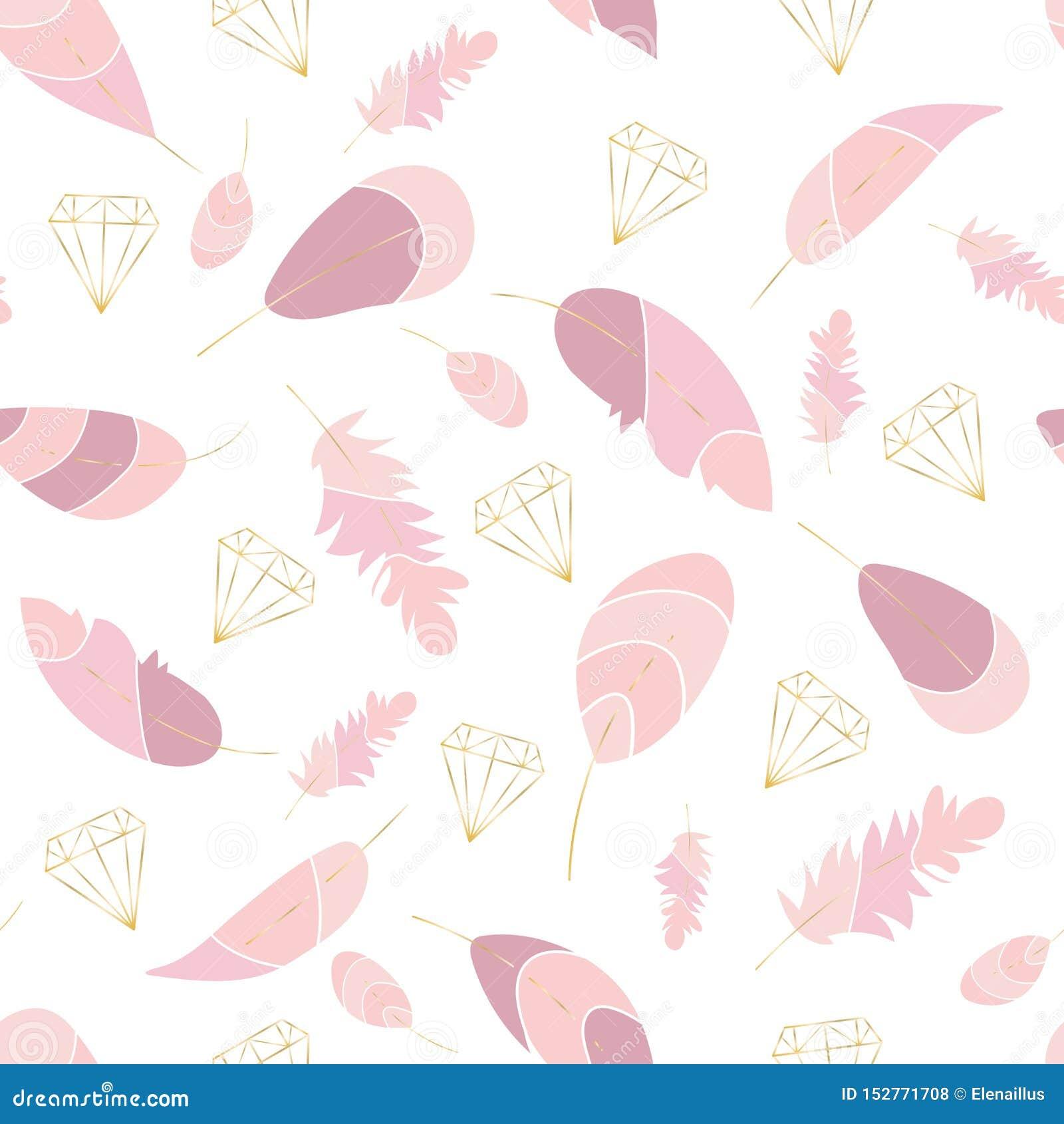 Vector naadloos patroon met roze veren en gouden contouren van kristallen, diamanten Zachte gekleurde druk Modieuze, in, elegante
