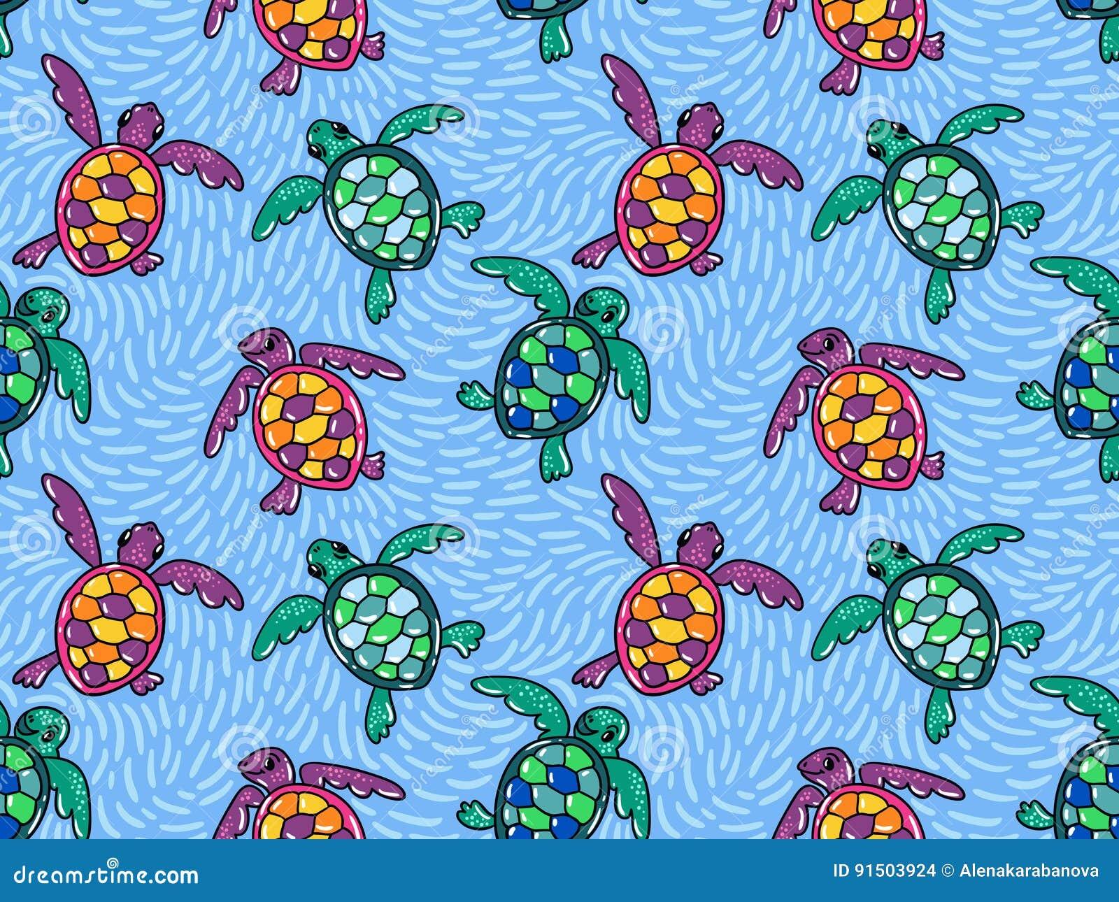 Vector naadloos patroon met sier oceaanschildpadden Blauw hand getrokken ontwerp