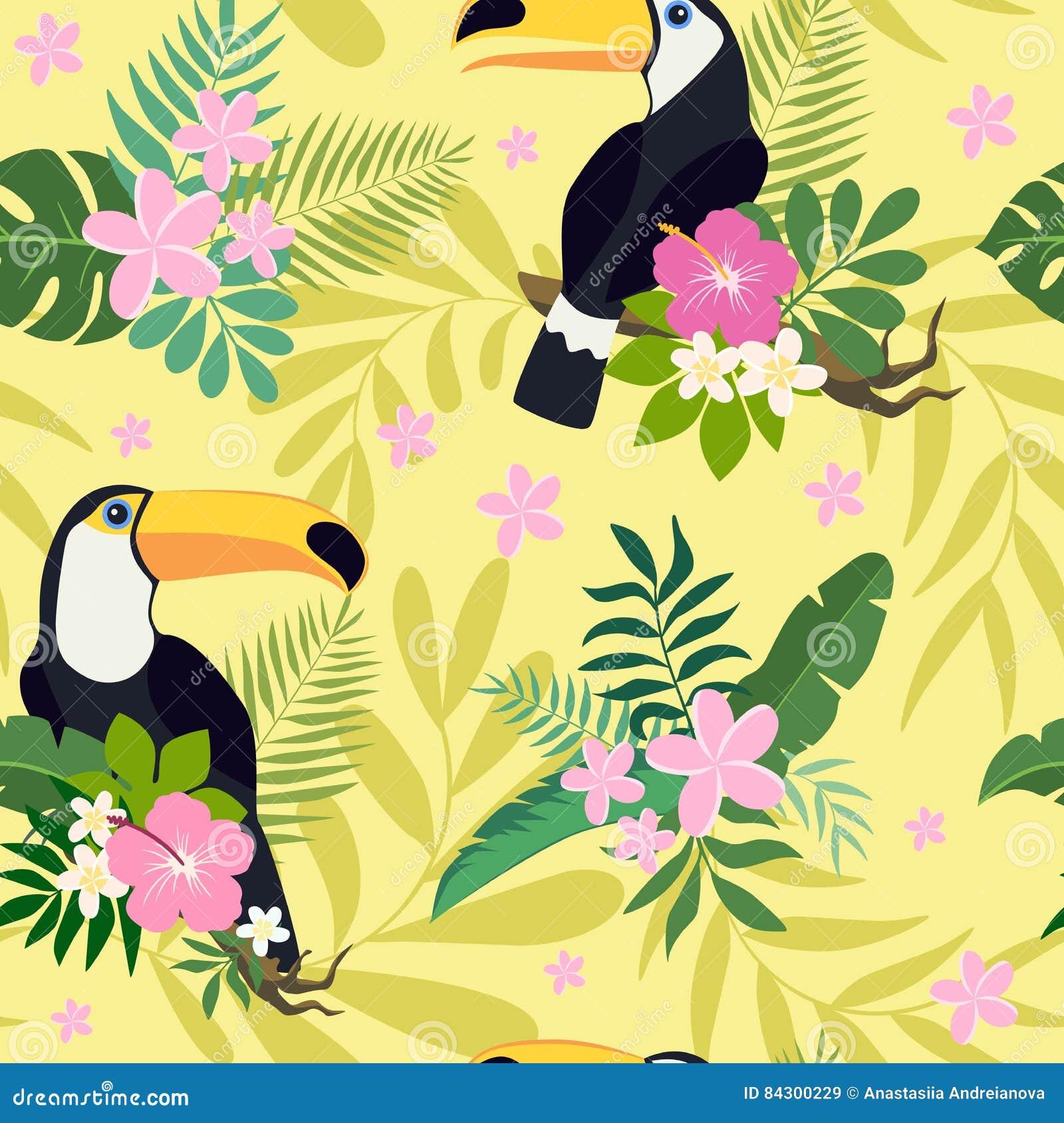 Vector naadloos patroon met toekanvogels op tropische takken met bladeren en bloemen