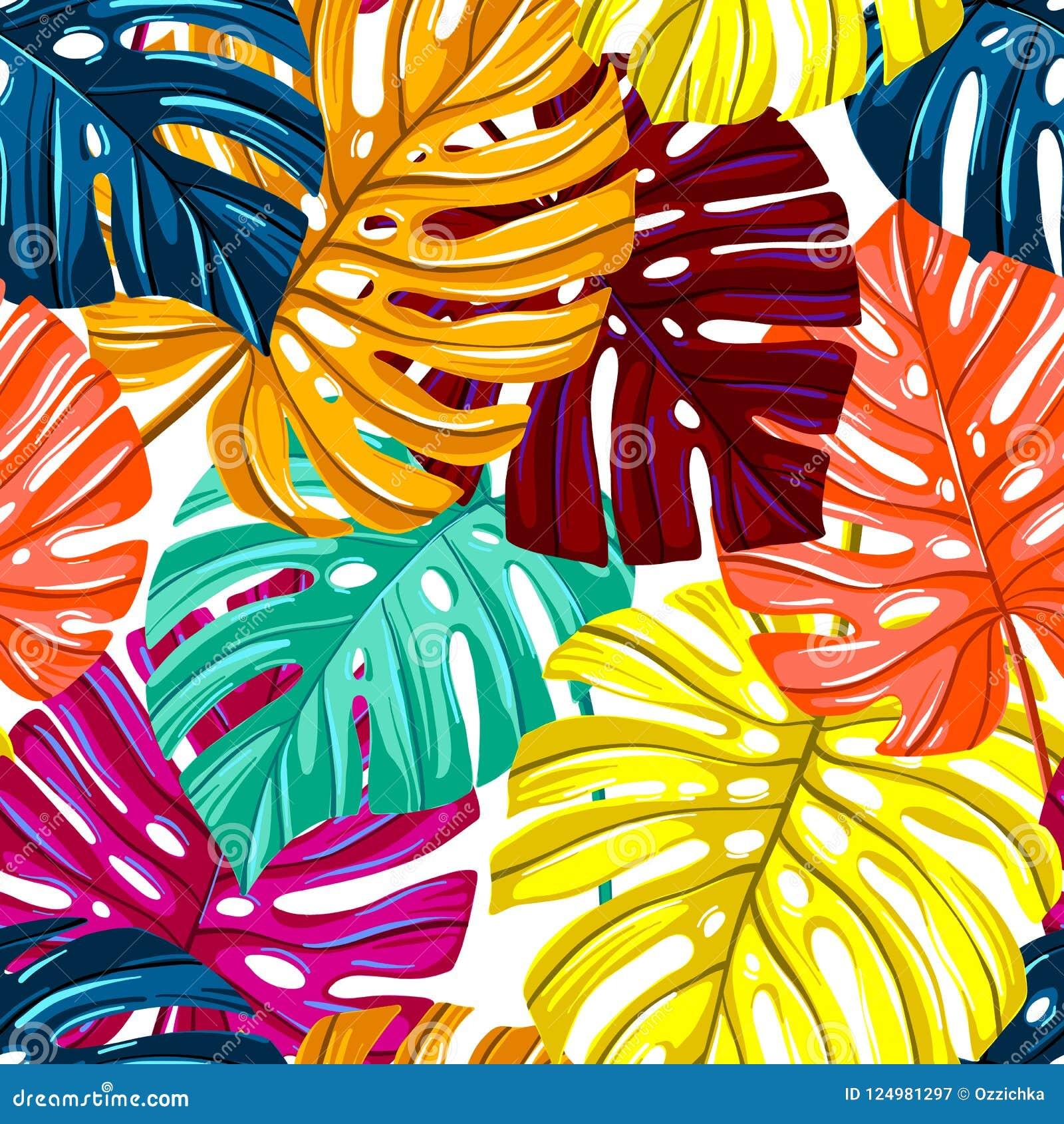 Vector naadloos patroon met tropische bladeren De textuur van Monsterabladeren Wildernis bloemen herhaalbare achtergrond