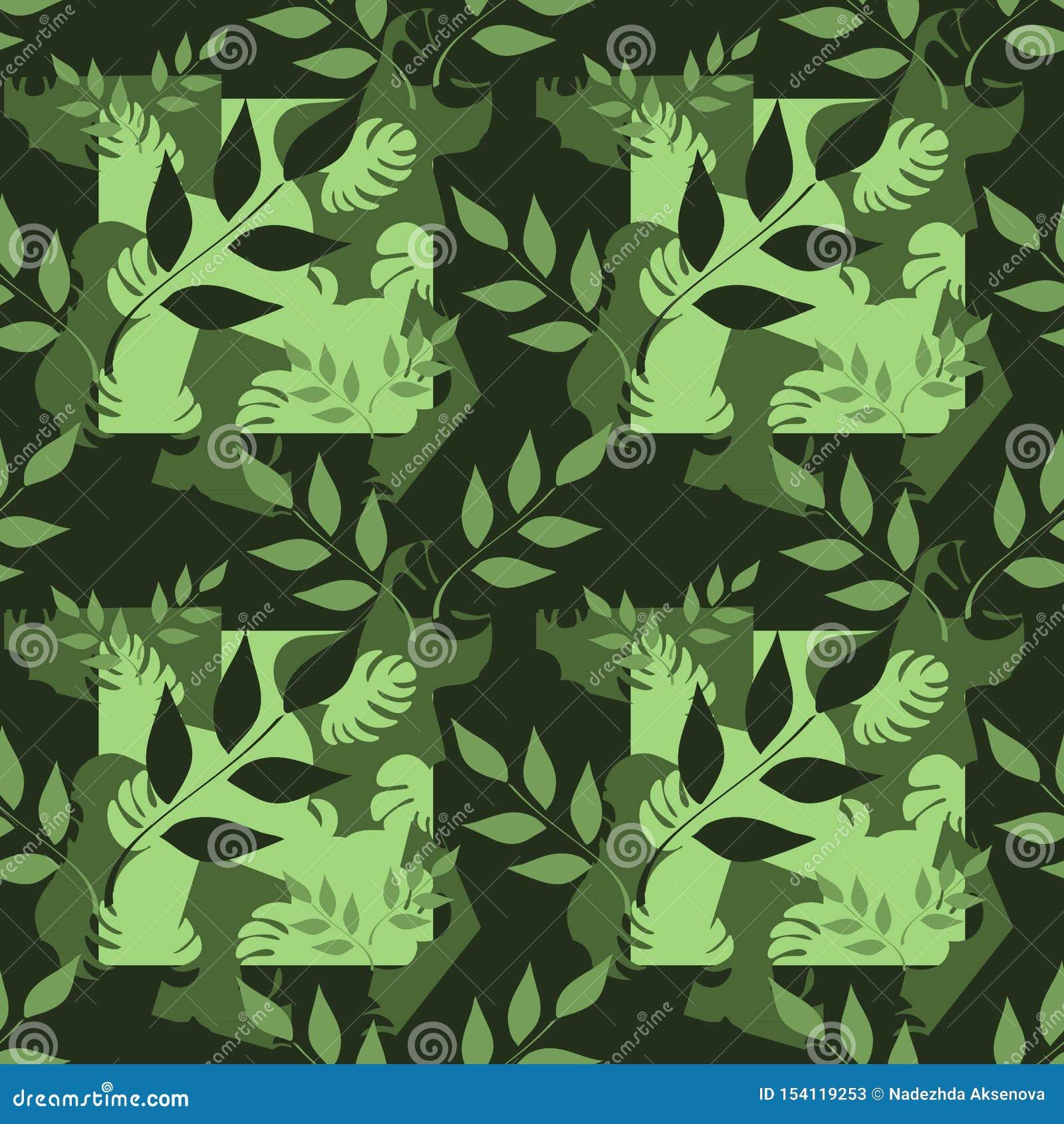 Vector naadloos patroon, takken met bladeren, tropische bladeren op donkere achtergrond Abstracte vlekken Hand getrokken illustra