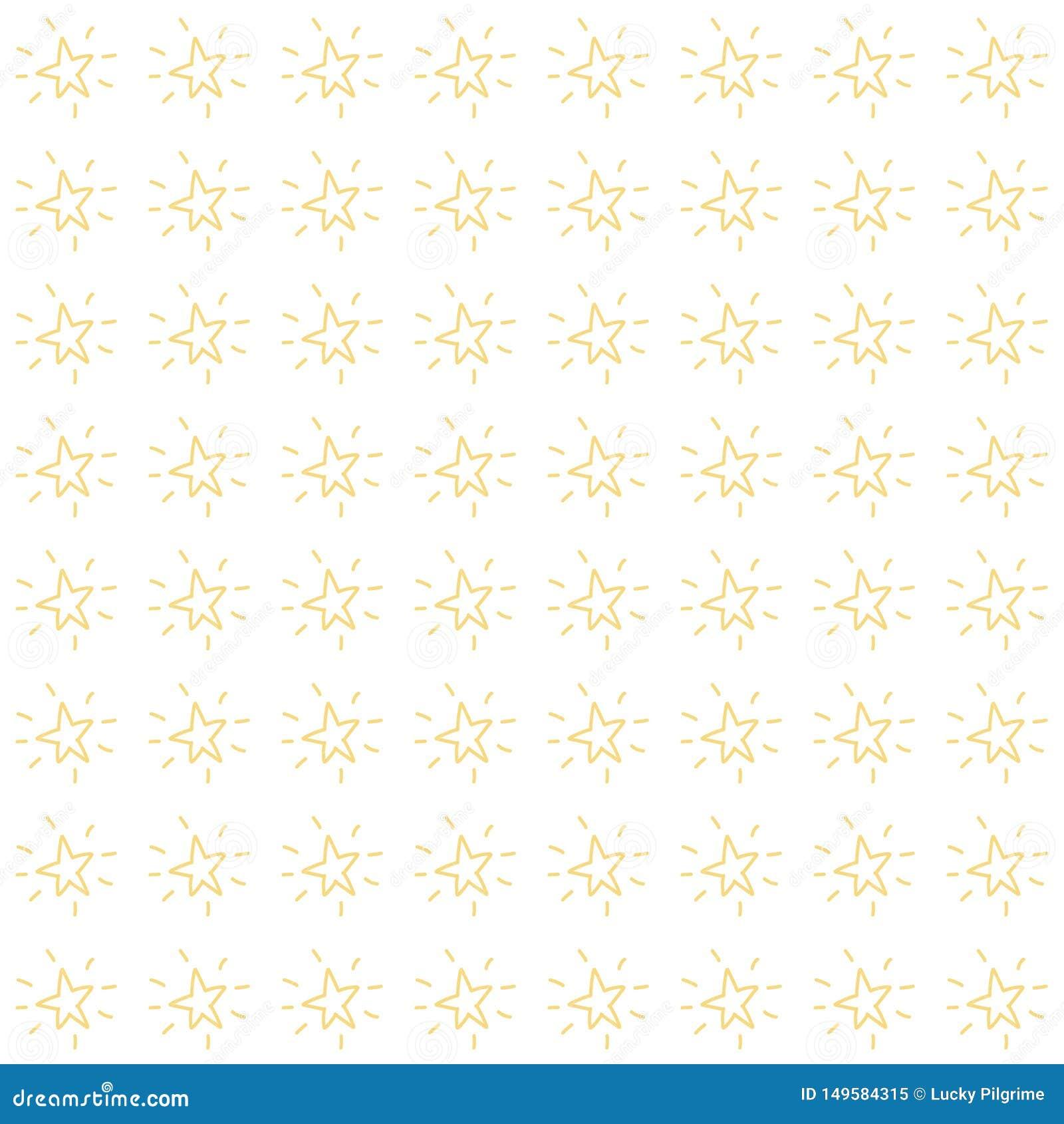 Vector naadloos patroon van eenvoudige minimalistische hand getrokken sterren