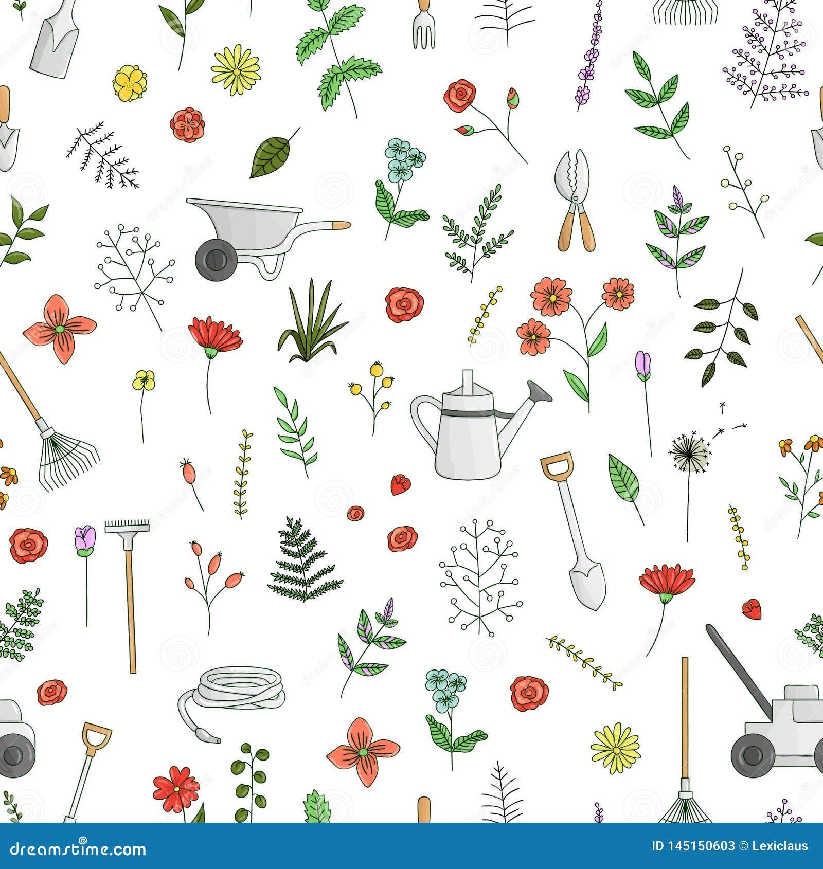 Vector naadloos patroon van gekleurde tuinhulpmiddelen, bloemen, kruiden, installaties