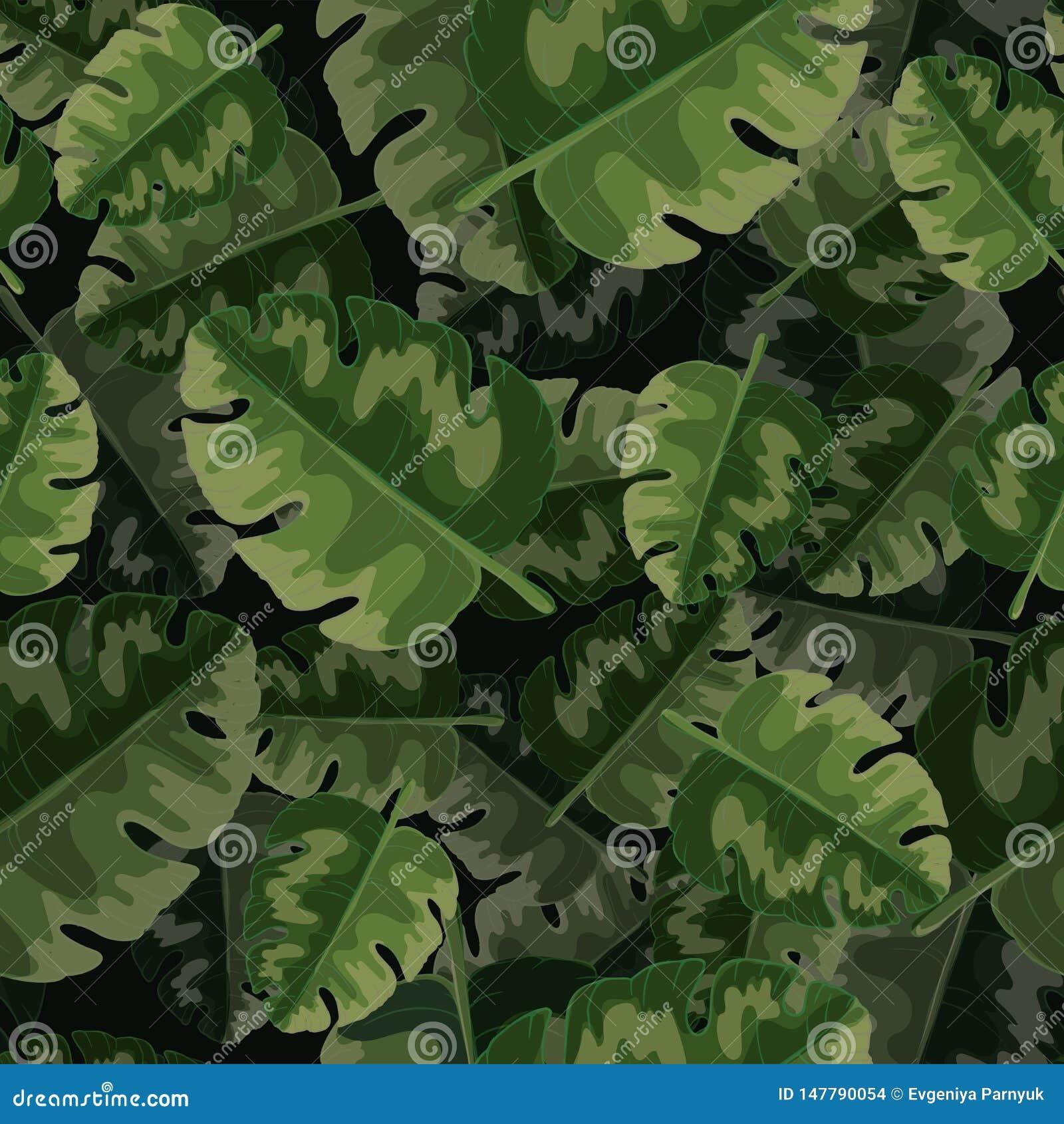 Vector naadloos patroon van groene palmbladen en tropische installaties