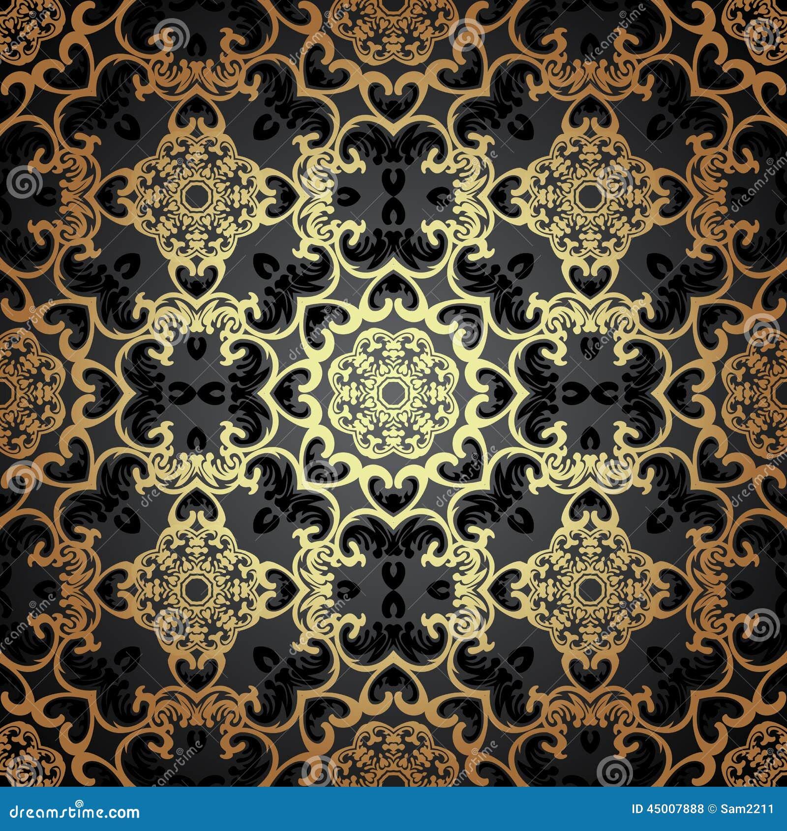 Vector naadloos patroon in victoriaanse stijl vector illustratie afbeelding 45007888 - Oosters stof ...