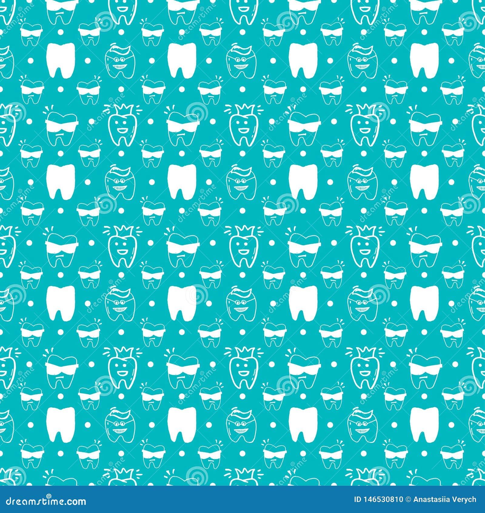 Vector naadloos tandpatroon met lijnpictogrammen