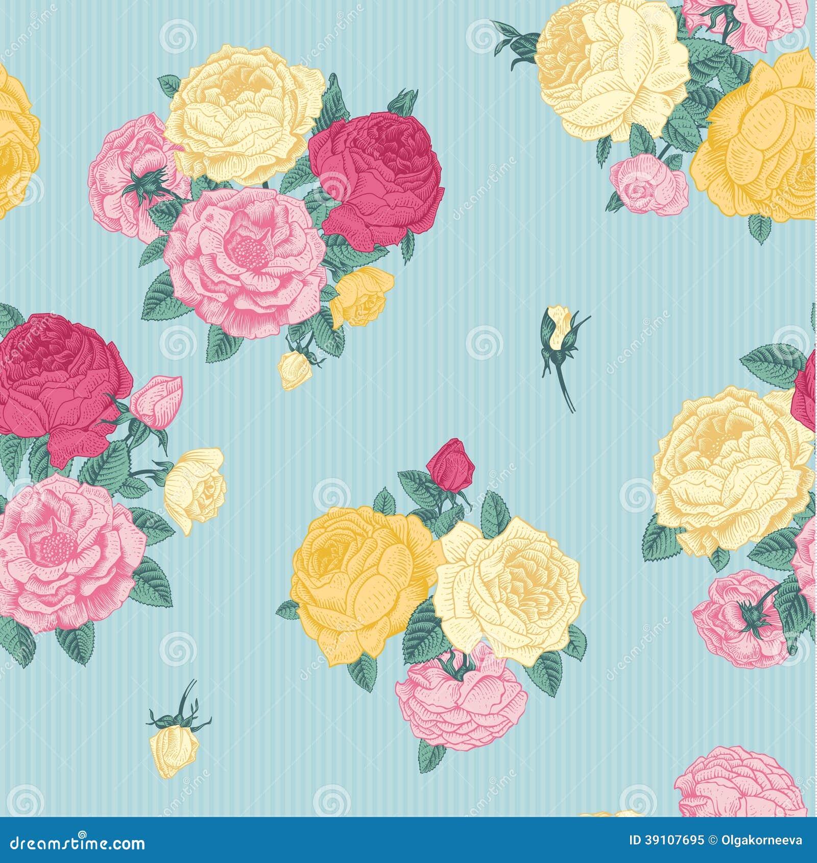 Vector naadloos uitstekend bloemenpatroon.