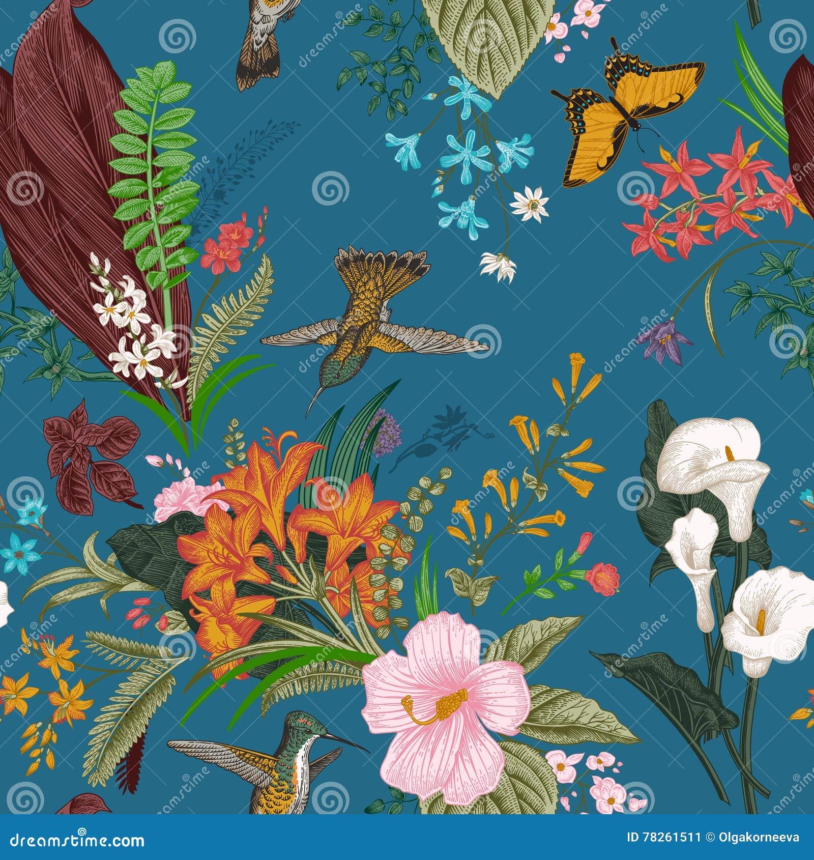 Vector Naadloos uitstekend bloemenpatroon Exotische bloemen en vogels